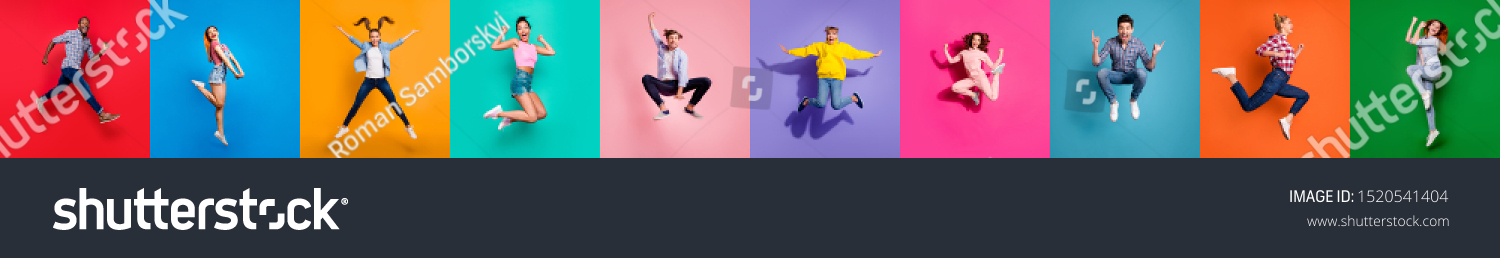 Collage of ten glad carefree attractive shiny modern multiethnic delight millennials person youngsters have diferent age good mood flying air isolated over color background travel sale summer concept #1520541404