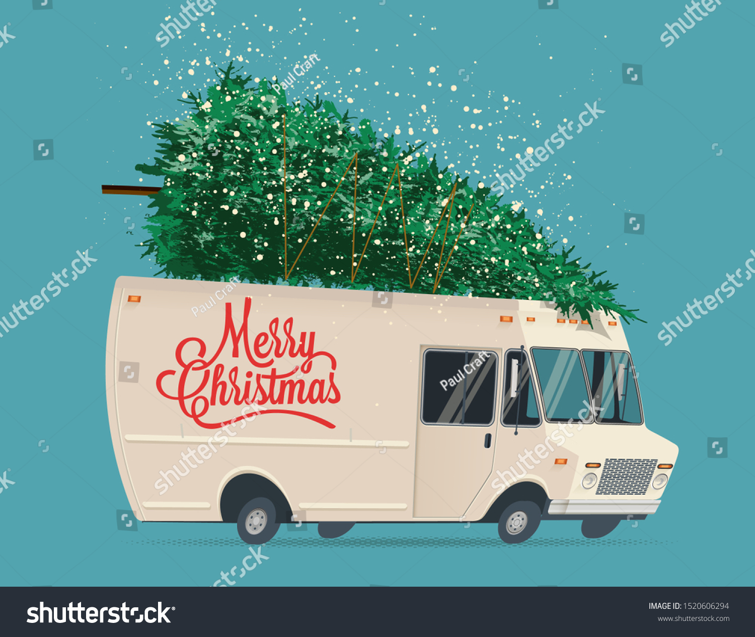 Vintage Cartoon Delivery Truck Christmas Tree Stock Vector Royalty Free 1520606294 To get more templates about posters,flyers,brochures cartoon flat tree trunk background design. https www shutterstock com image vector vintage cartoon delivery truck christmas tree 1520606294
