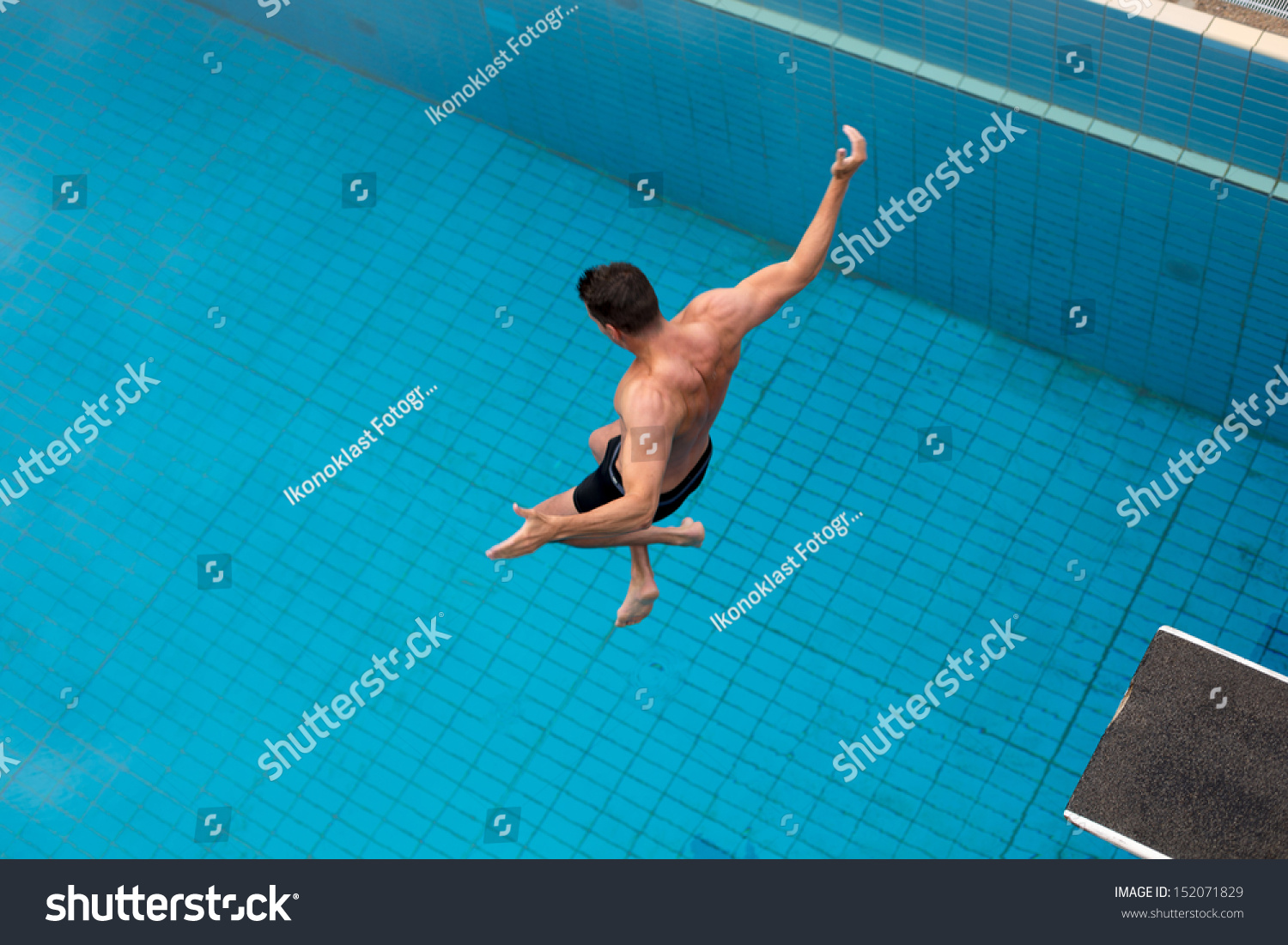 Public Swimming Pools With Diving Boards man jumping diving board public swimming stock photo 152071829
