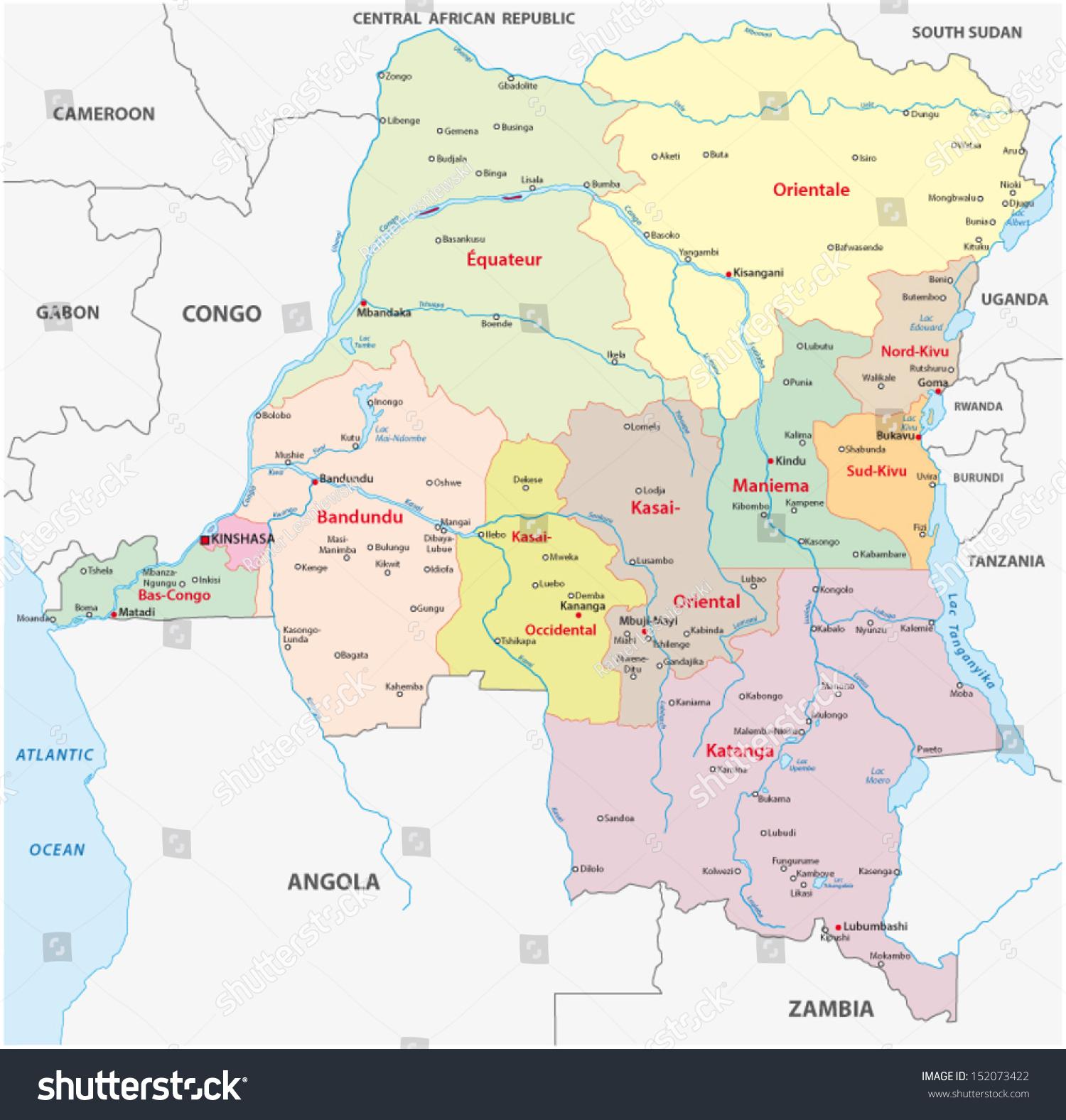 Democratic Republic Congo Administrative Map Stock Vector 152073422