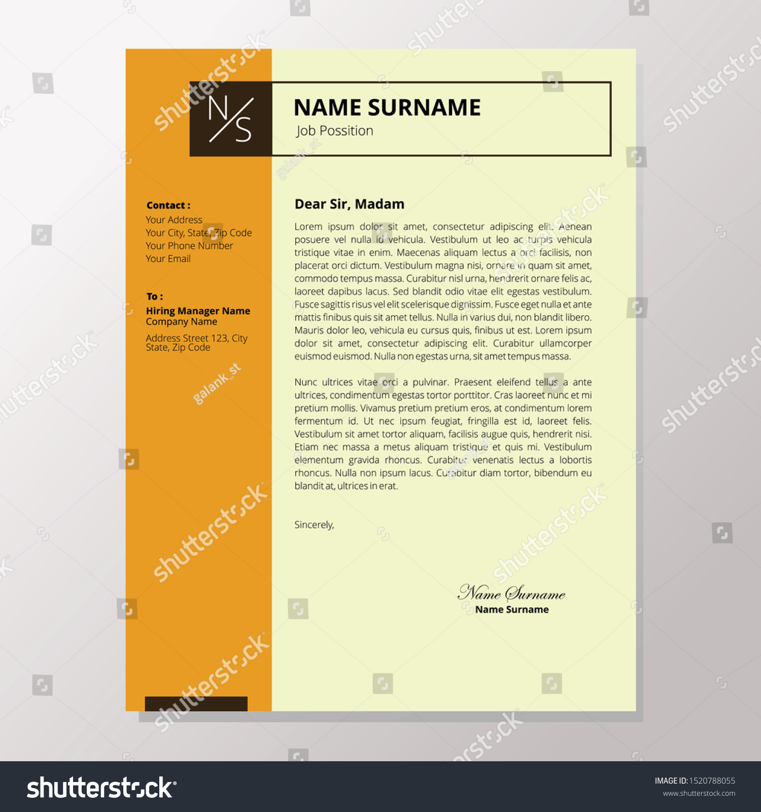 Simple Application Letter Template Cover Letter Stock Vector Royalty Free 1520788055