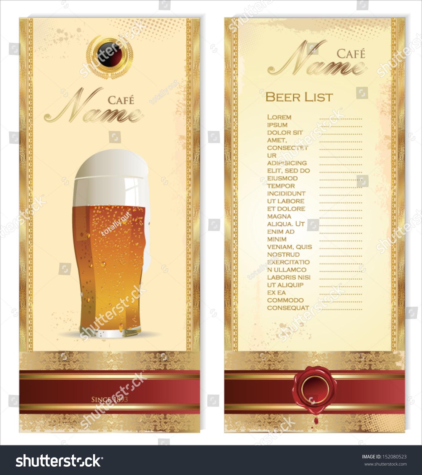 Beer Menu Template Vector 152080523 Shutterstock – Beer Menu
