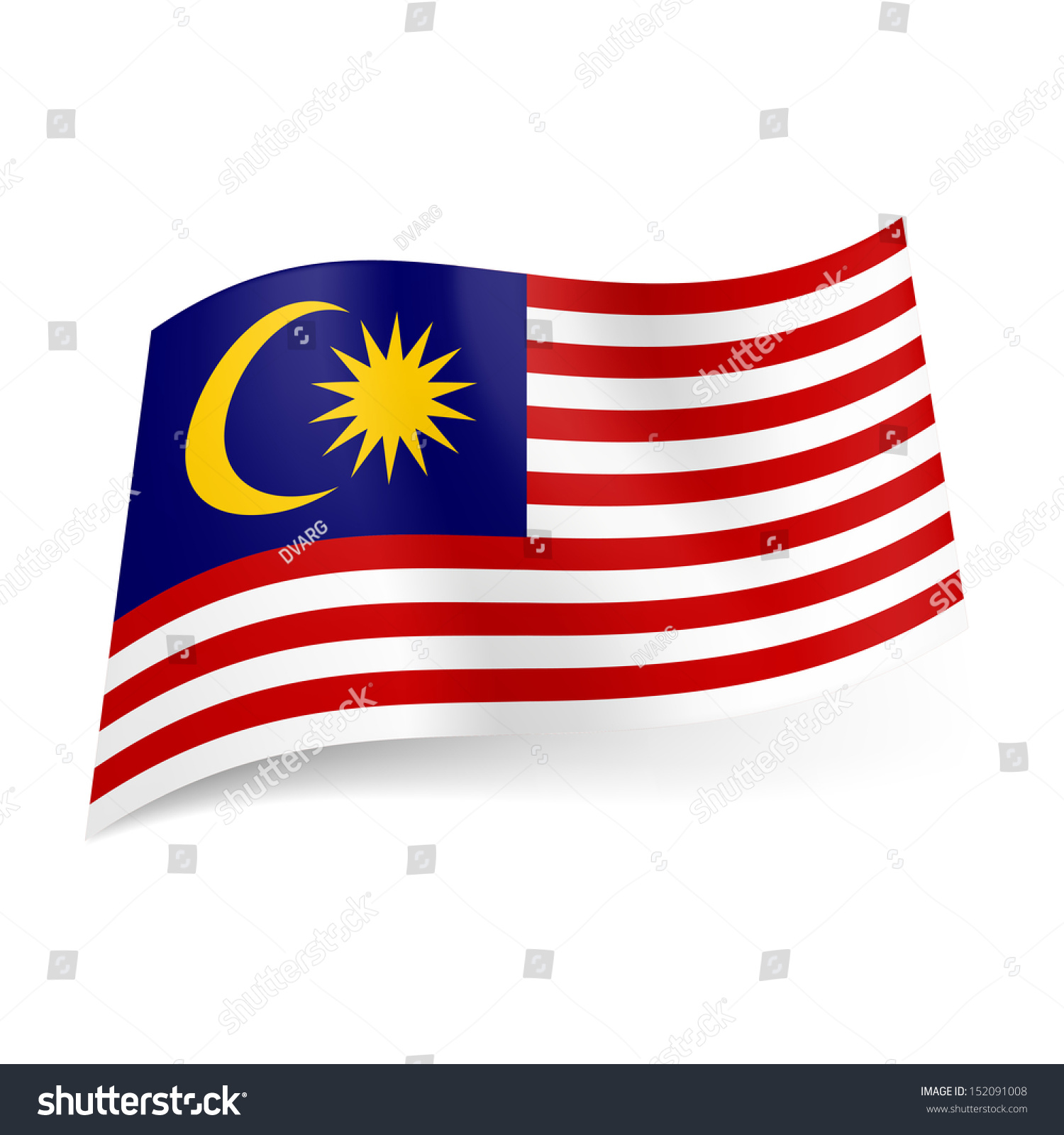 National Flag Malaysia Red White Horizontal Stock Vector Royalty Free 152091008