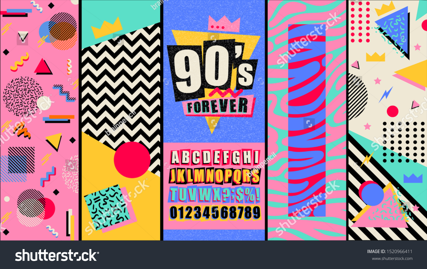 90s and 80s poster. Nineties forever. Retro style textures and alphabet mix. Aesthetic fashion background and eighties graphic. Pop and rock music party event template. Vintage vector poster, banner. #1520966411