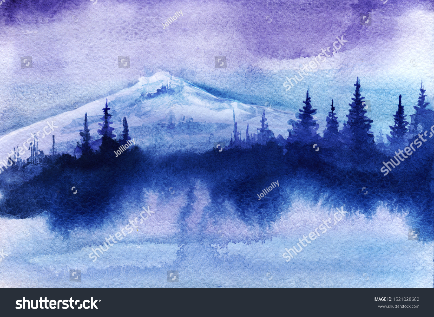Abstract Watercolor Landscape Silhouette White Snowy Stock Photo Edit Now 1521028682