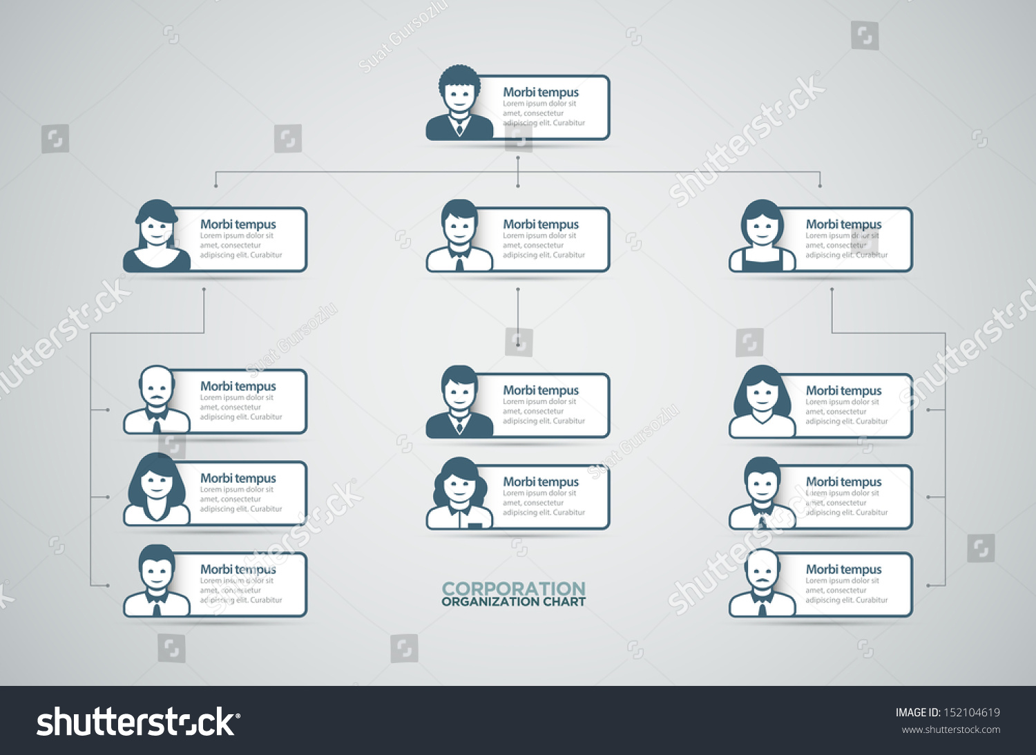 Corporate Organization Chart Business People Icons Vector – Business Organizational Chart
