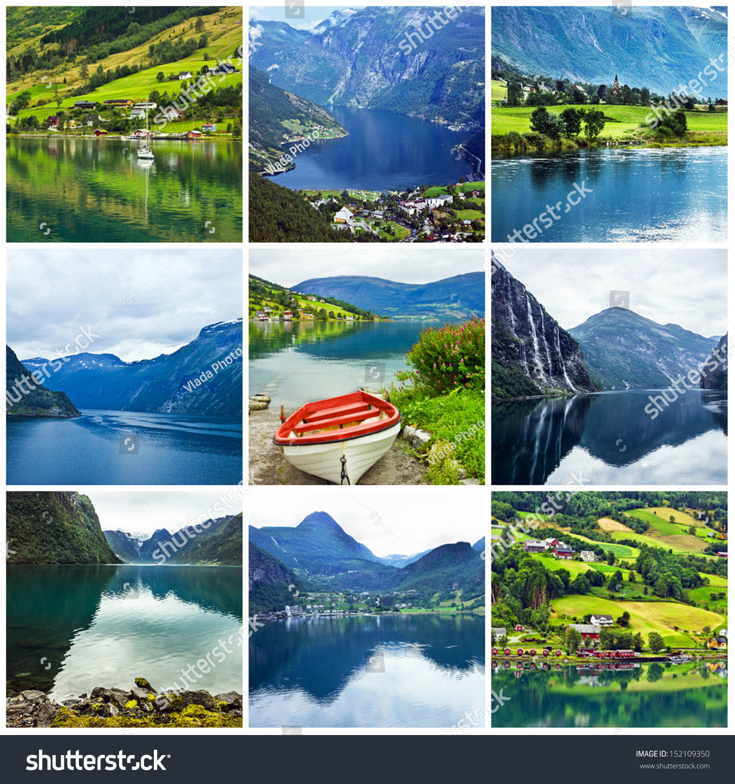 Norway Fjords Collage Norwegian Natural Summer Stock Photo