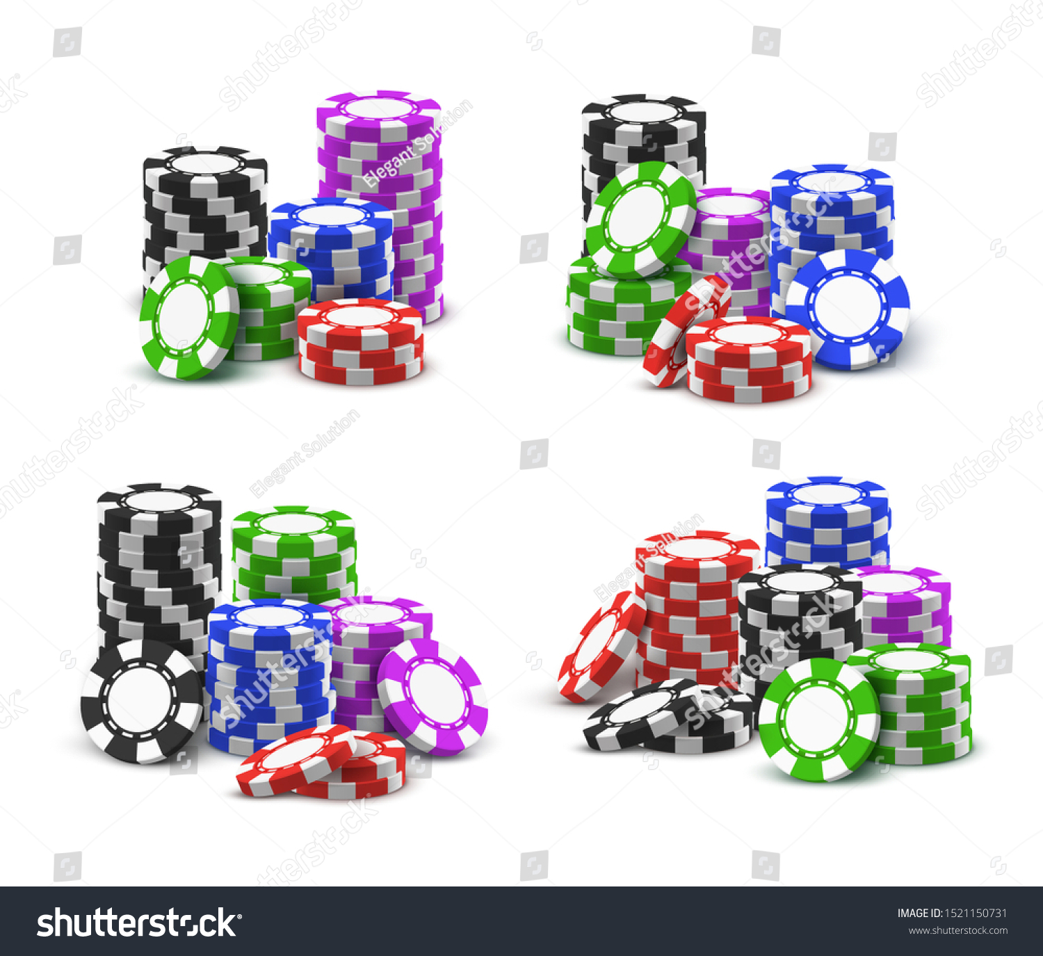 Casino Poker Chips Stack Vector Realistic Stock Vector Royalty Free 1521150731