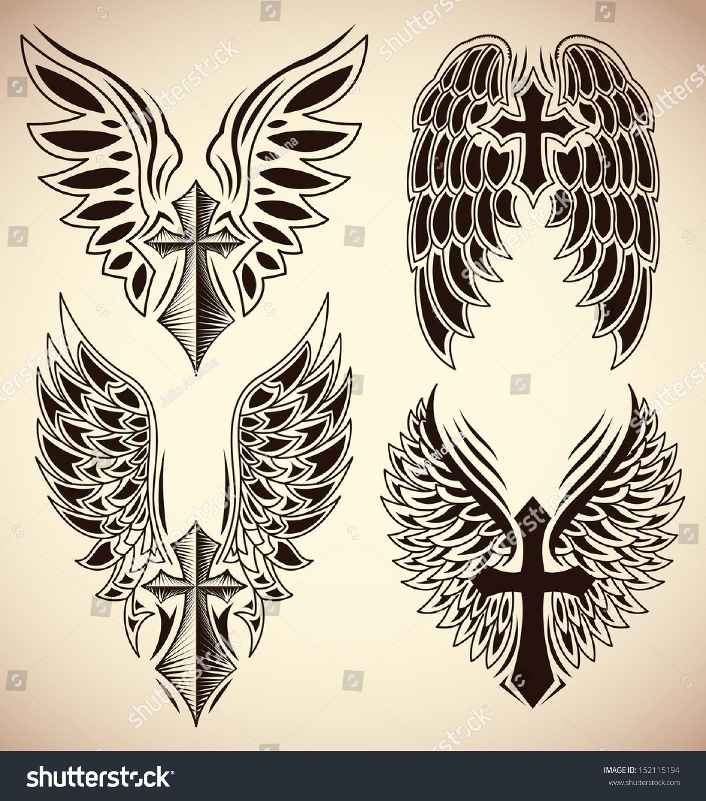 Тату ангел с крыльями и крестом