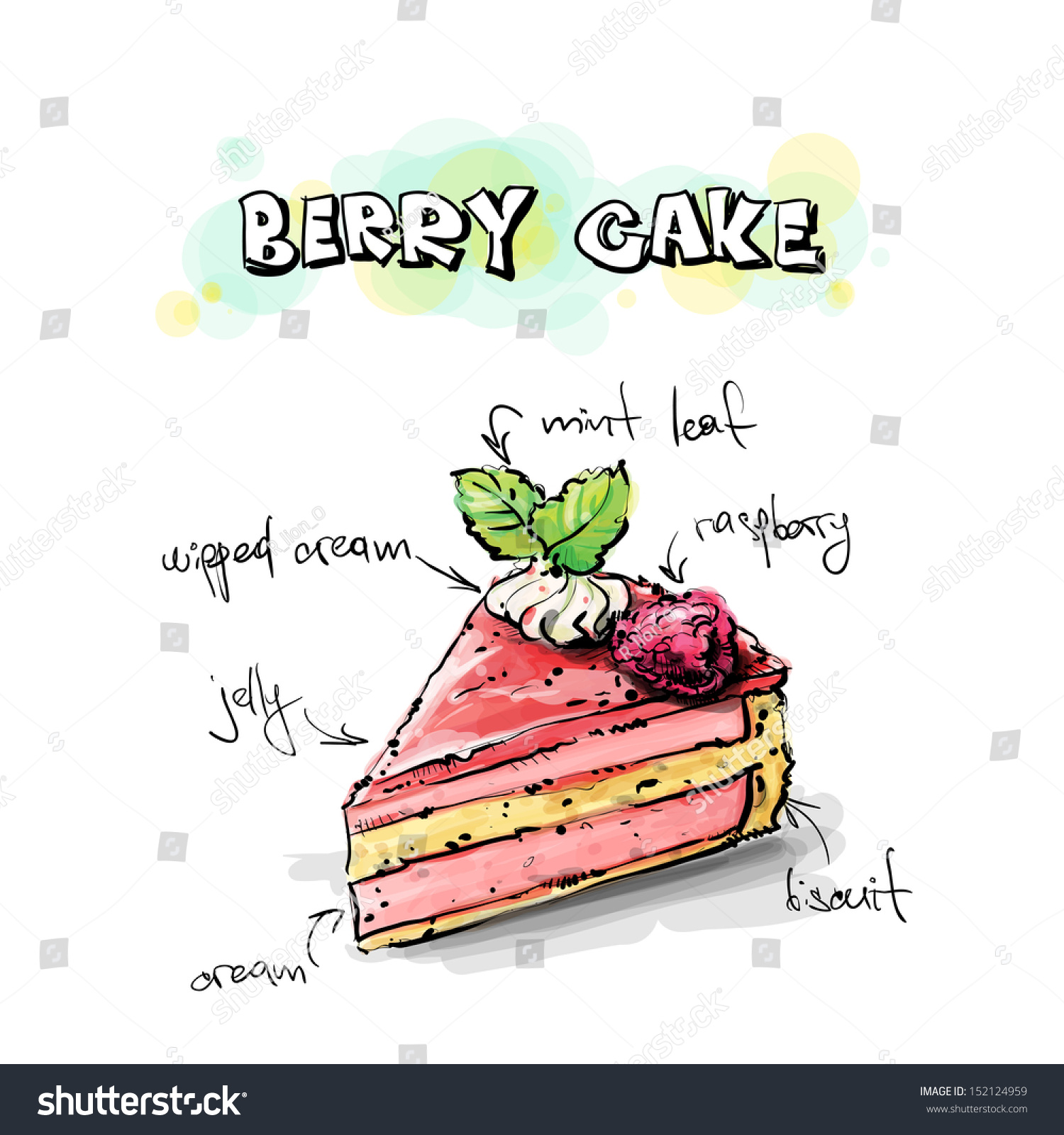 how to draw a 2d cake slice