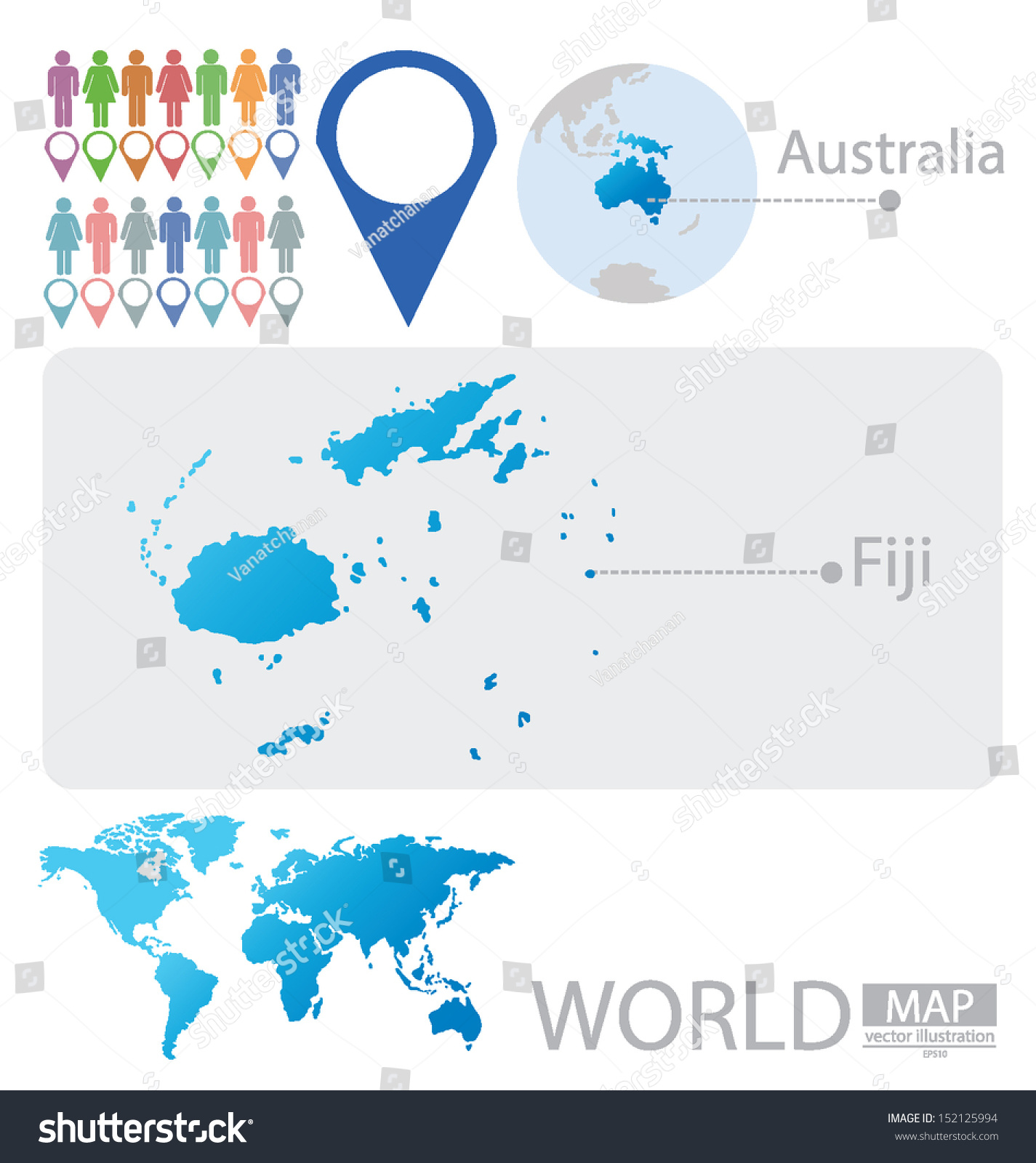 Republic Fiji Australia World Map Vector Stock Vector Royalty Free