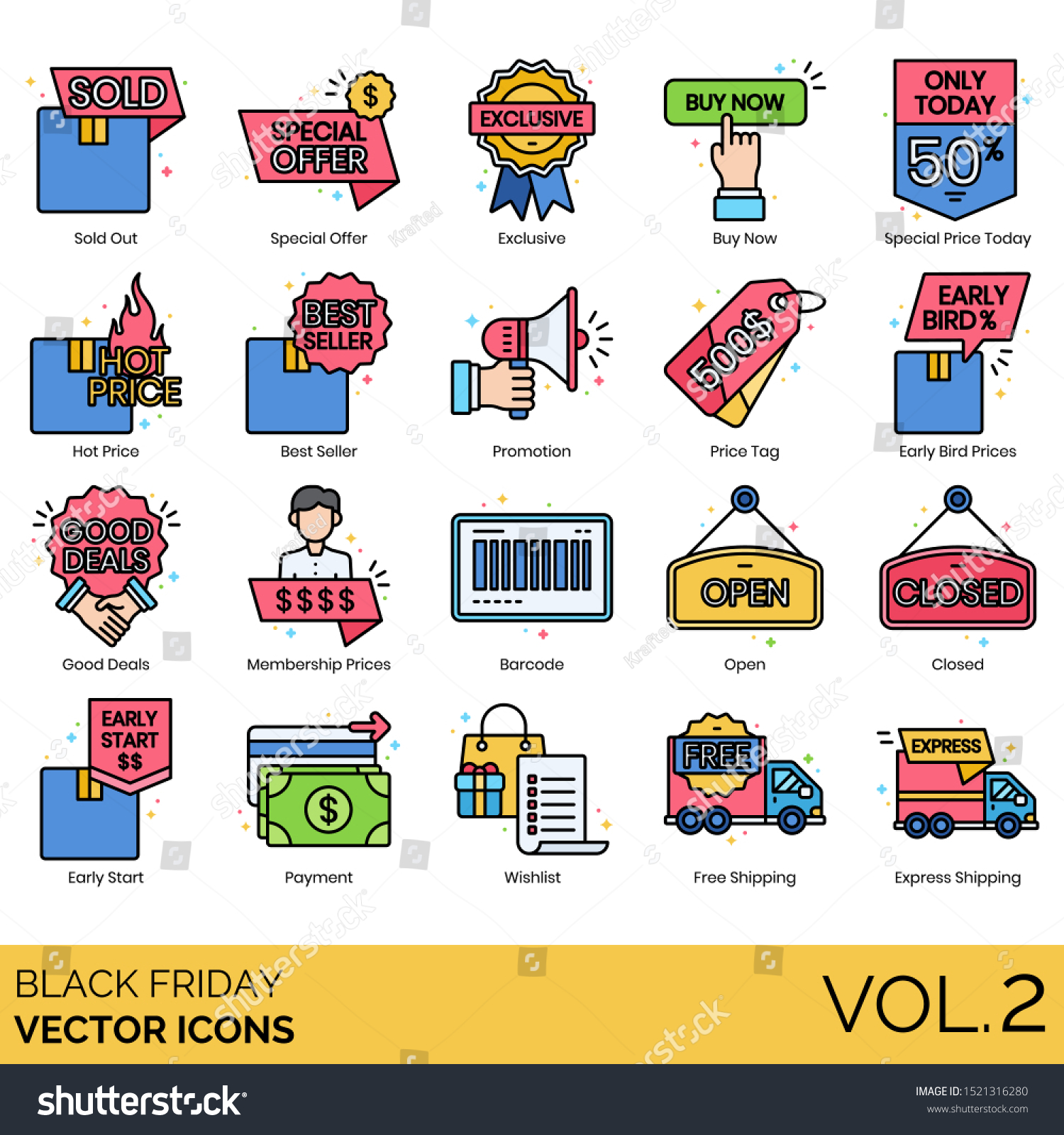 Black Friday Icons Including Sold Out Stock Vector Royalty Free 1521316280
