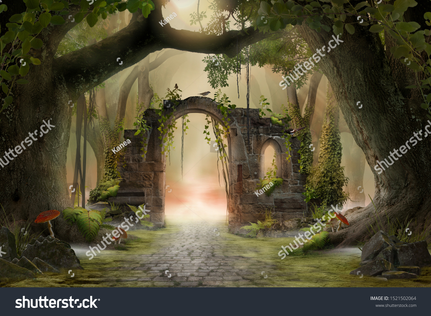Archway in an enchanted fairy forest landscape, misty dark mood, can be used as background #1521502064