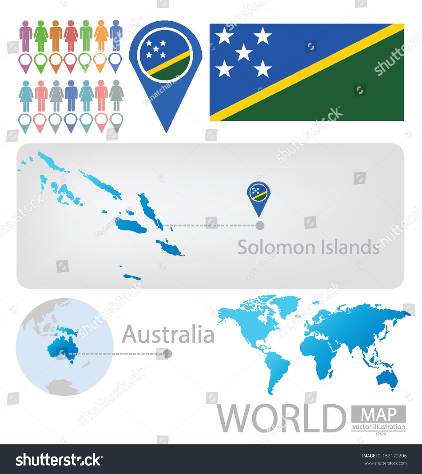 Solomon Islands World Map.Solomon Islands Australia Flag World Map Stock Vector Royalty Free