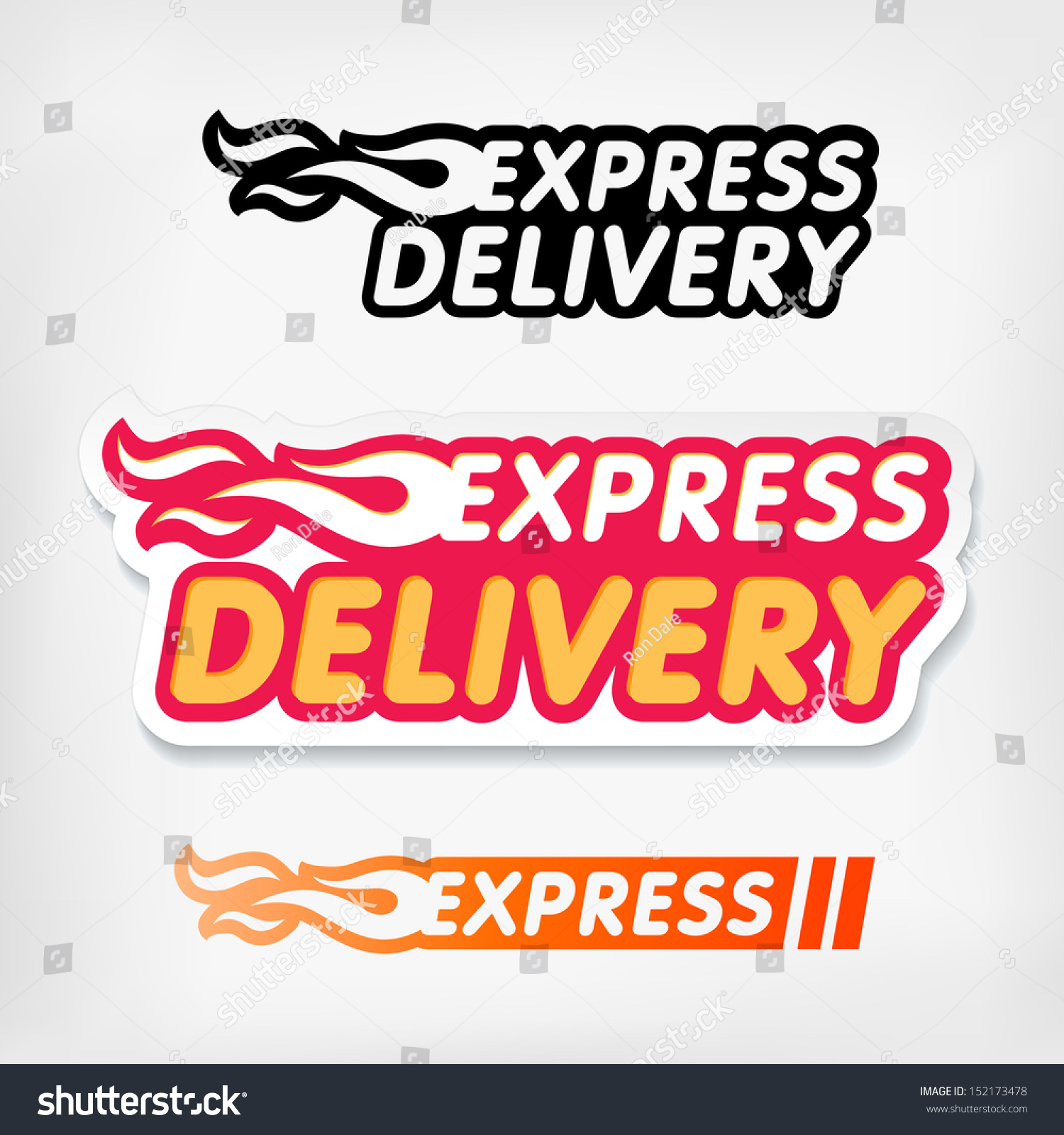 Express - Express Delivery Symbols Vector Express Delivery Logo Template Stickers Set