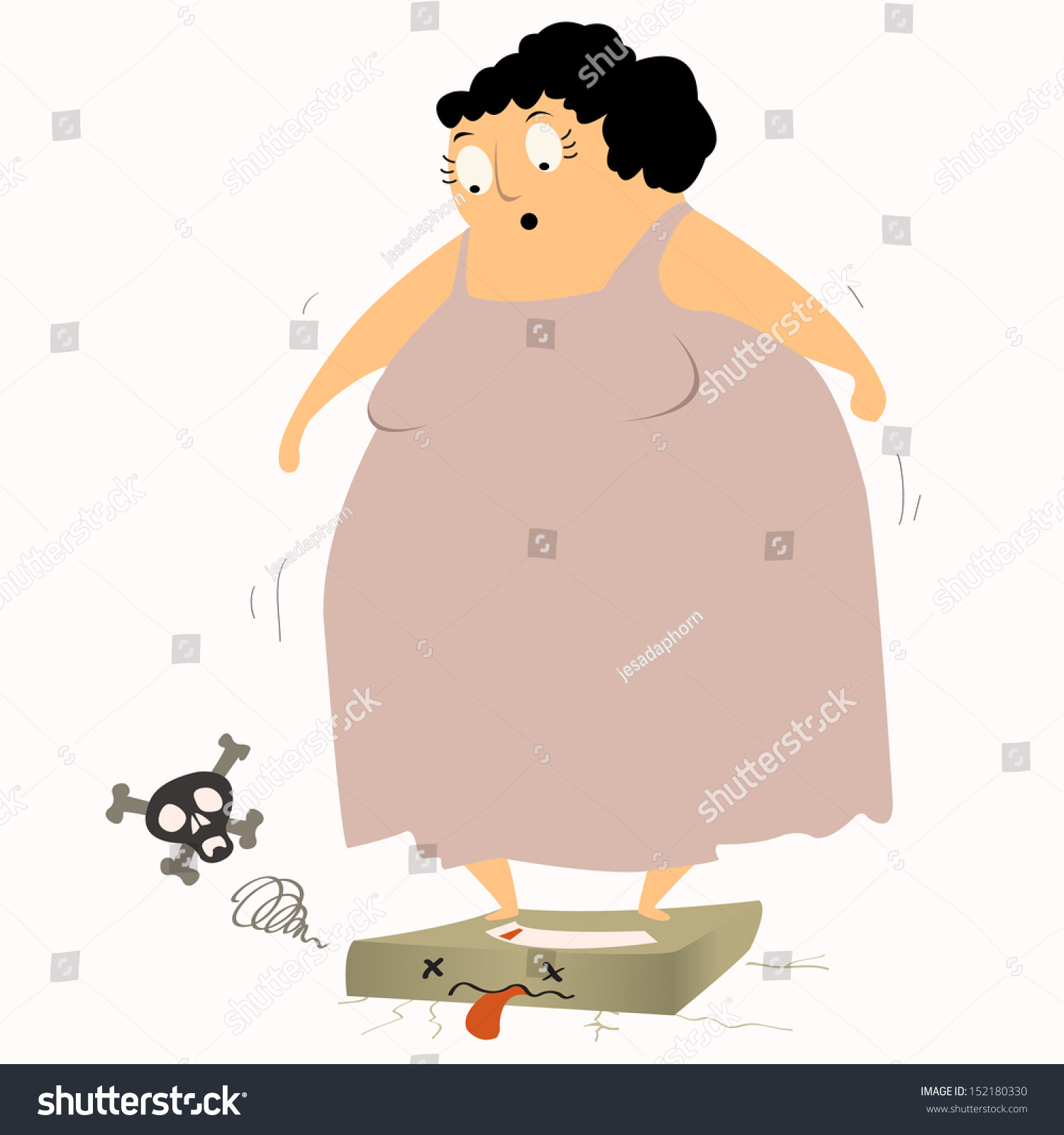 Too Heavy Overweight Woman Standing On Scales And Causing