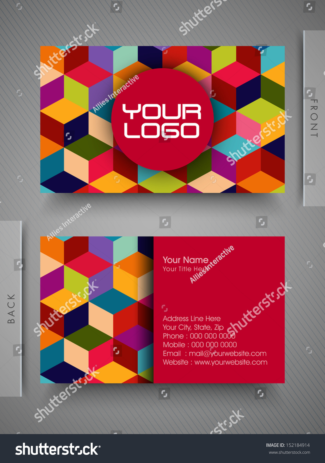 Colorful Professional Designer Business Card Set Stock Vector ...