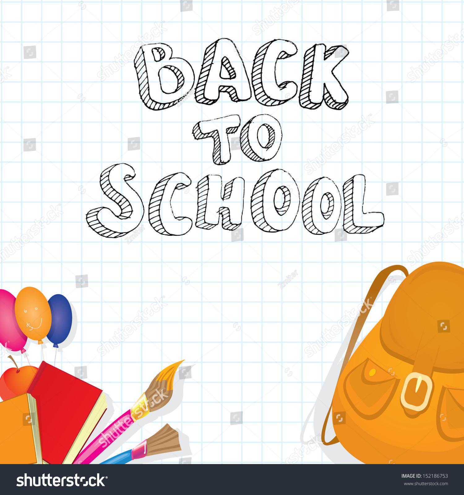 Back School Collage Vector Illustration School Stock Vector Royalty