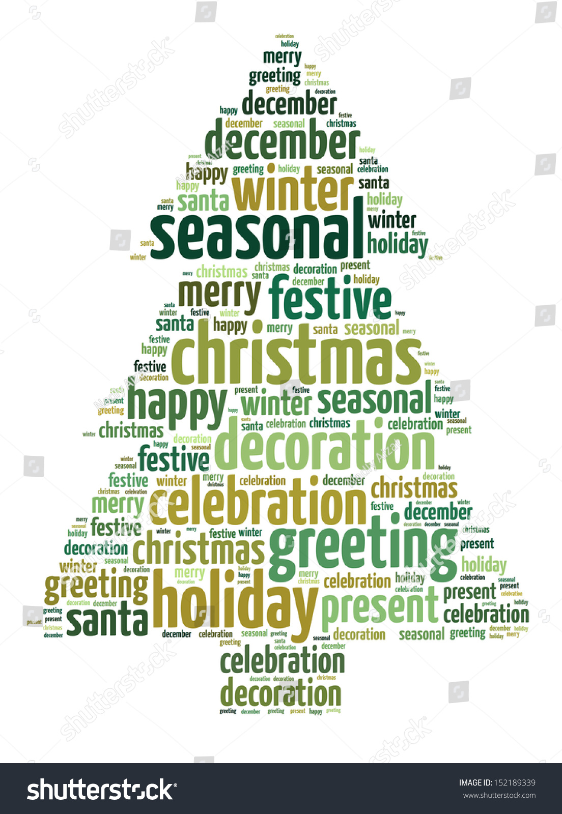 Christmas Words That Start With A.Words Illustration Christmas Tree Over White Stock