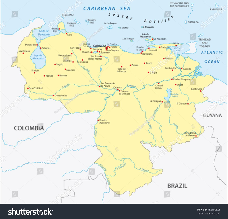 Venezuela Map Stock Vector 152190626 Shutterstock