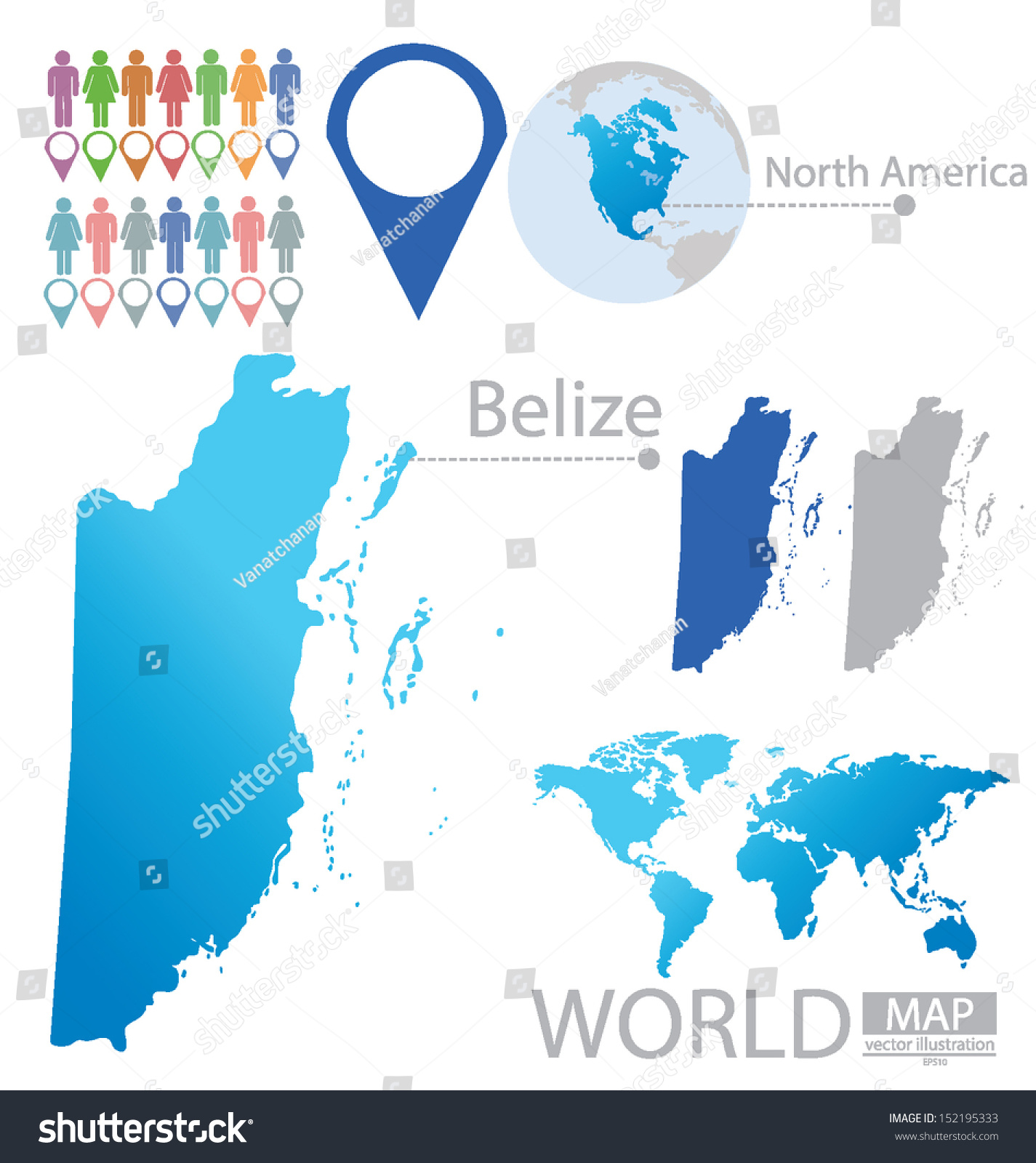Belize Flag North America World Map Stock Vector HD Royalty Free