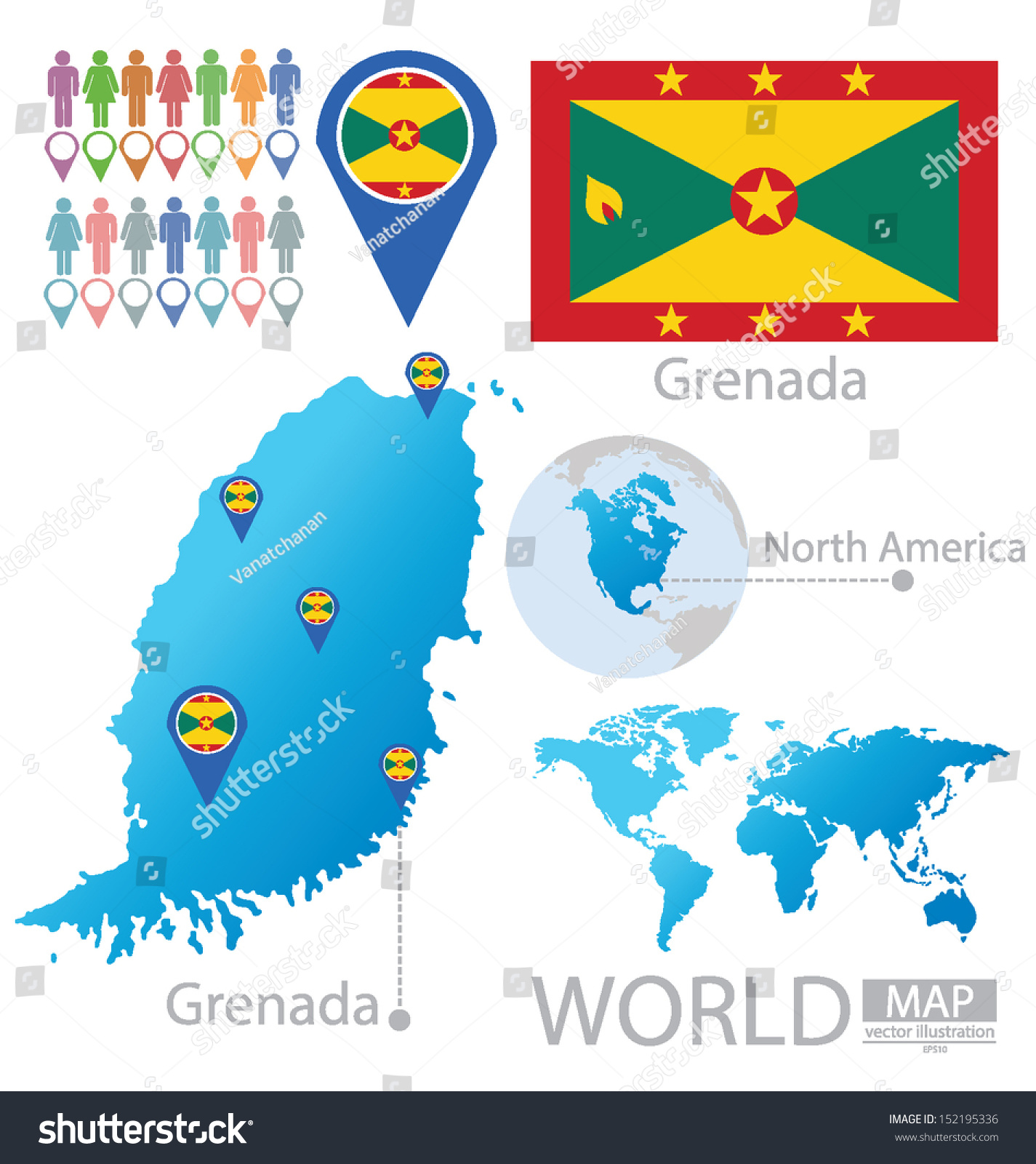 Grenada Flag North America World Map Stock Vector 152195336