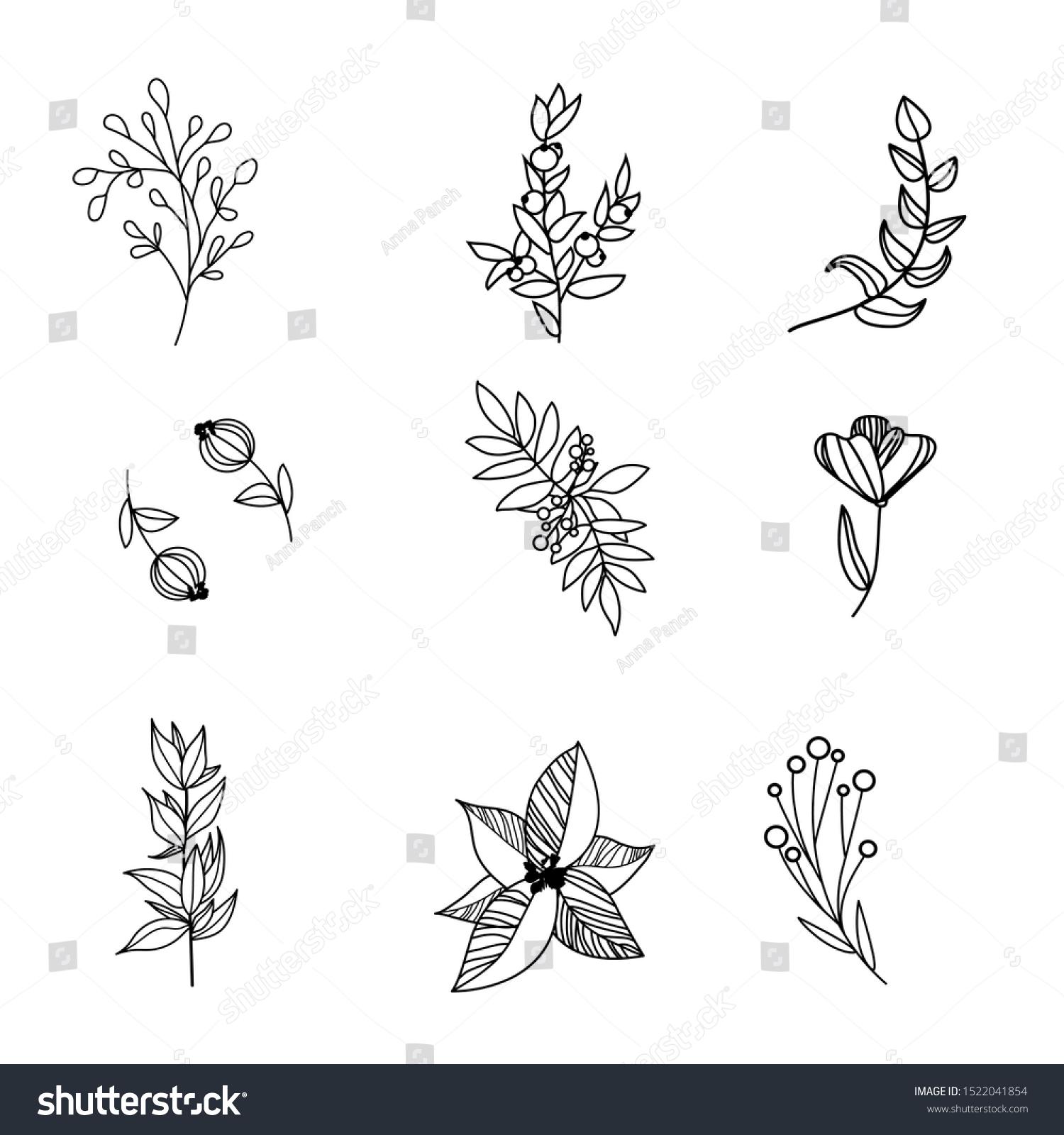Set Contour Flower Icons Black Insta Stock Vector Royalty Free 1522041854