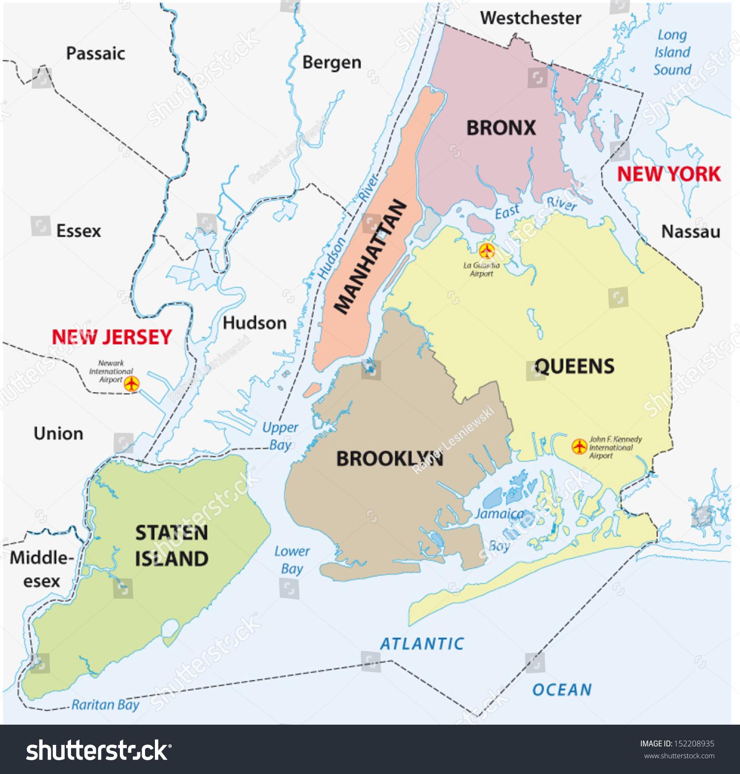 new york city 5 boroughs map stock vector shutterstock