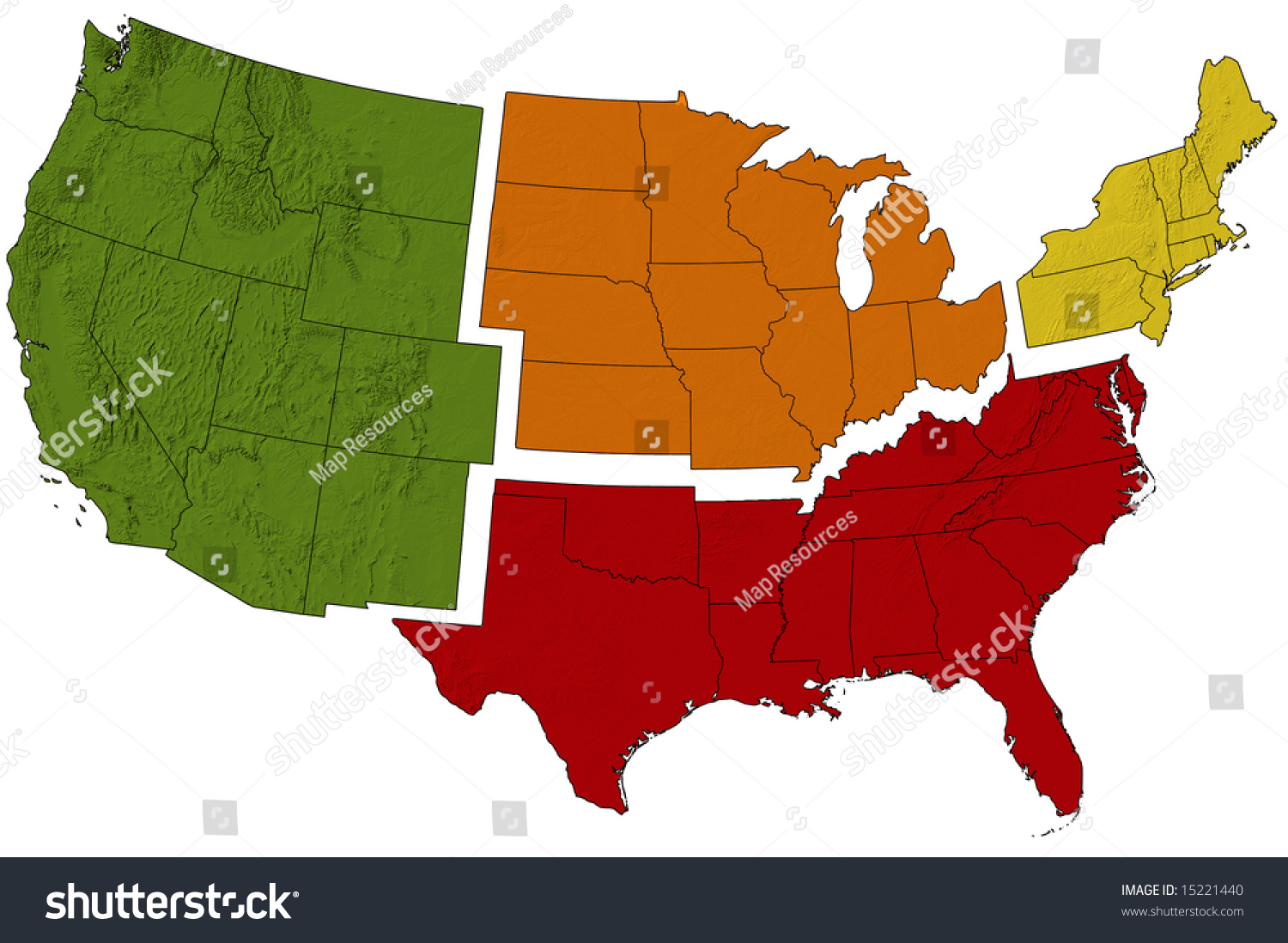 Usa Map Divided Into Regions Stock Illustration - Us map divided into regions
