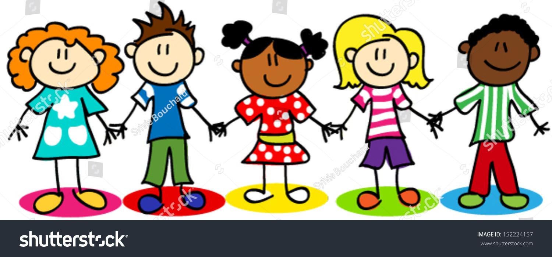 Uncategorized Cartoon Little Kids fun stick figure cartoon kids little stock vector 152224157 boys and girls ethnic diversity
