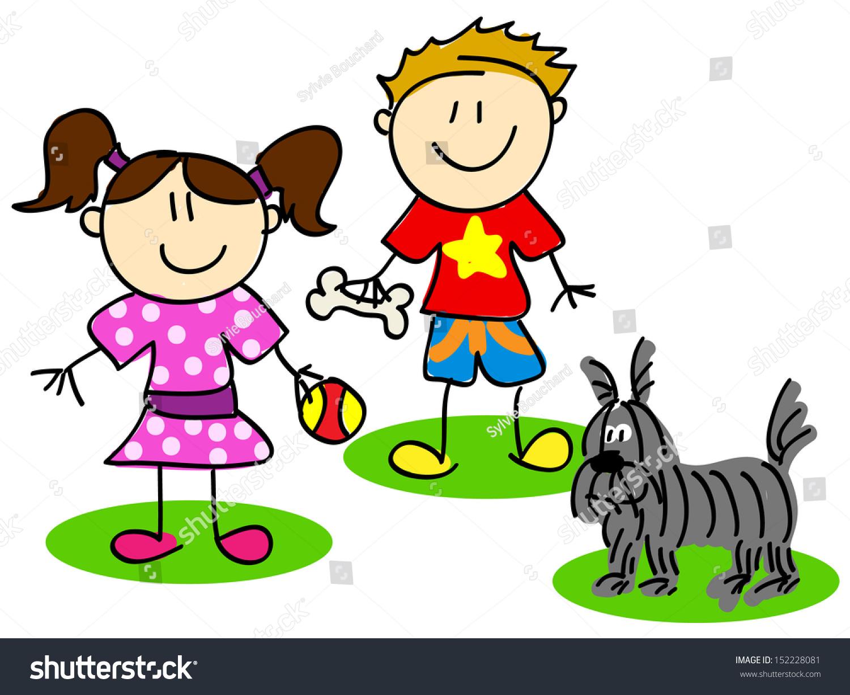 Uncategorized Cartoon Little Kids fun stick figure cartoon kids little stock illustration 152228081 boy and girl playing with dog