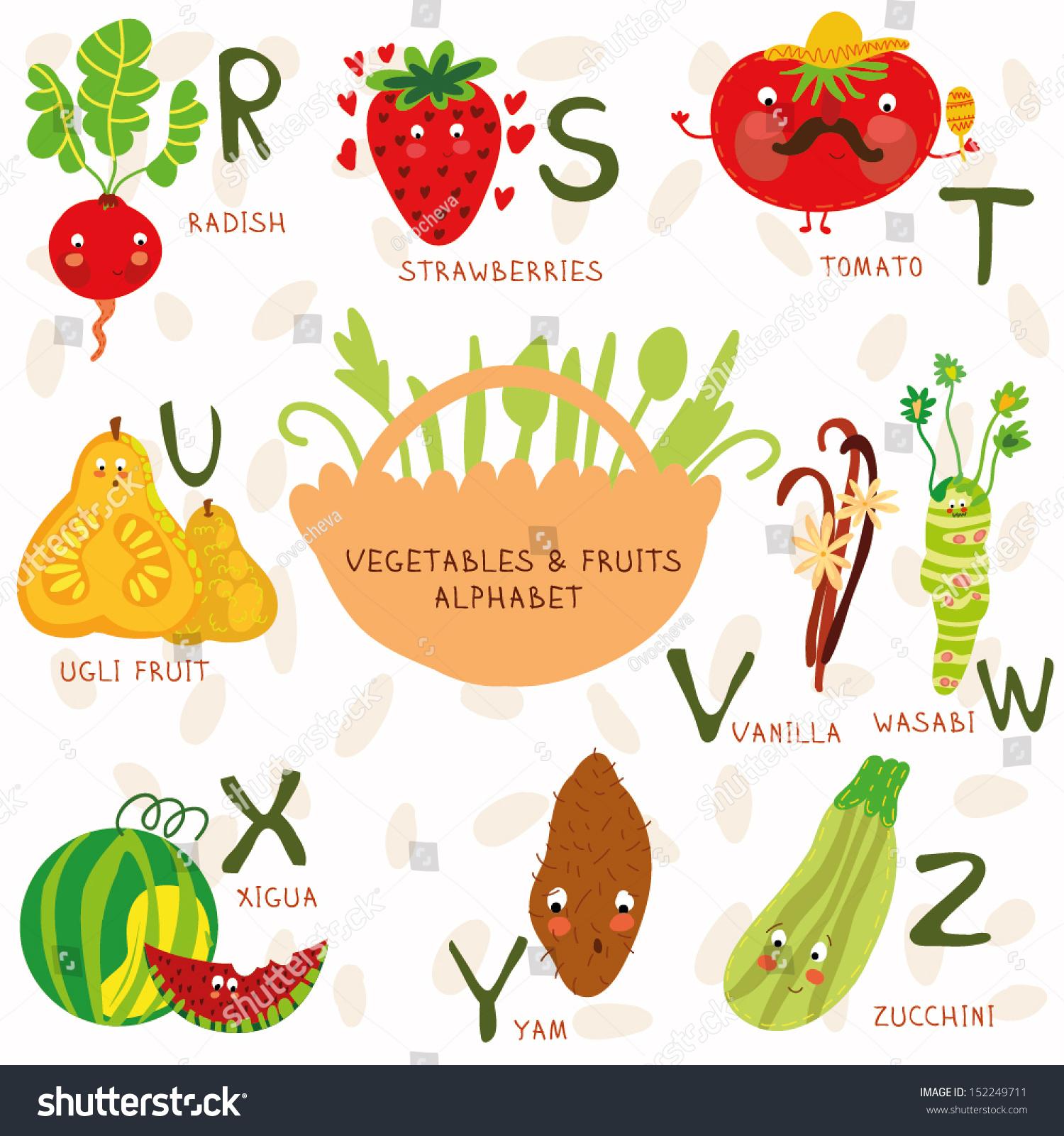vector illustration fruit vegetables a b stock vector 152249711