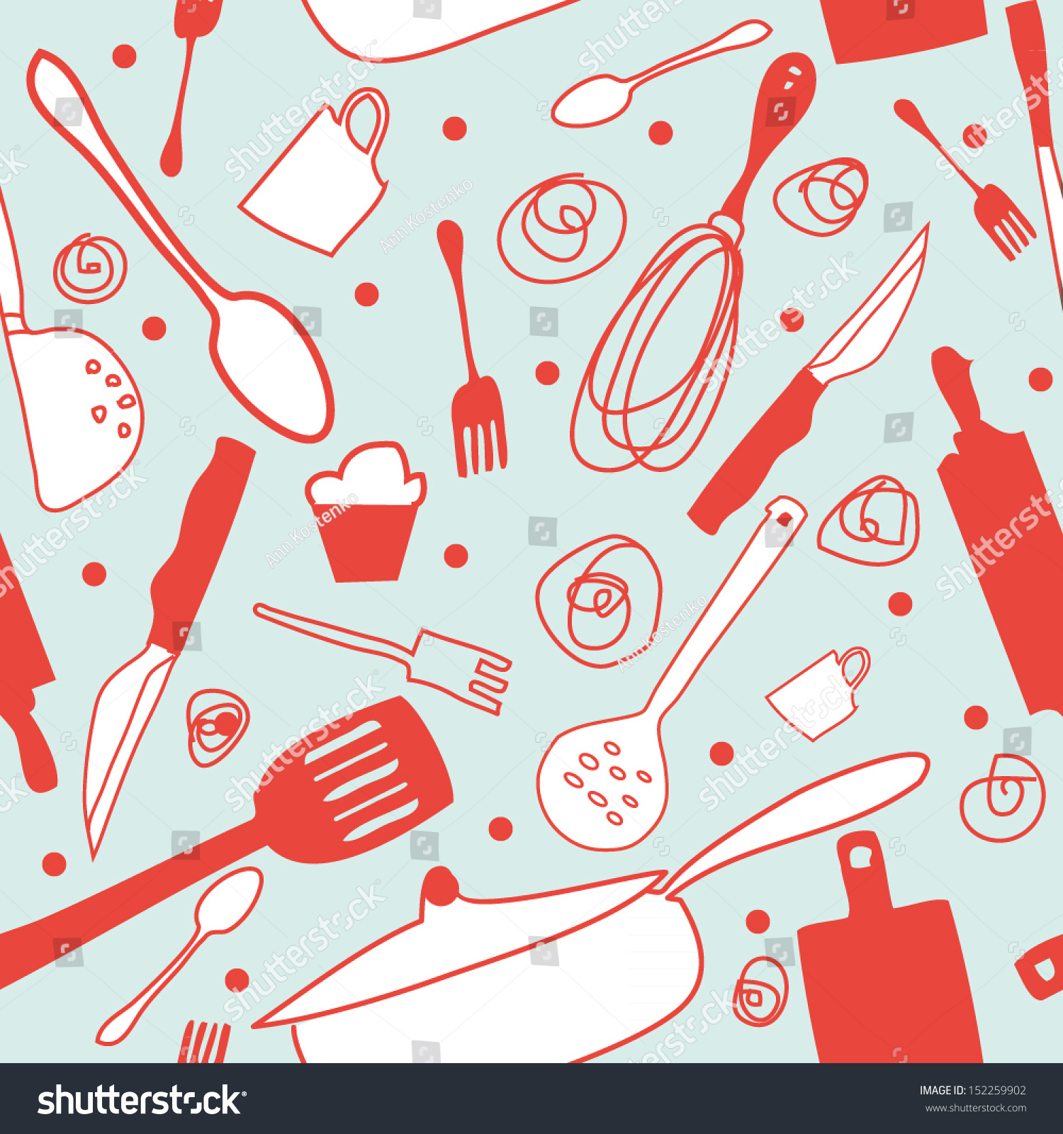 Seamless Cook Background Retro Kitchen Wallpaper Background Pattern