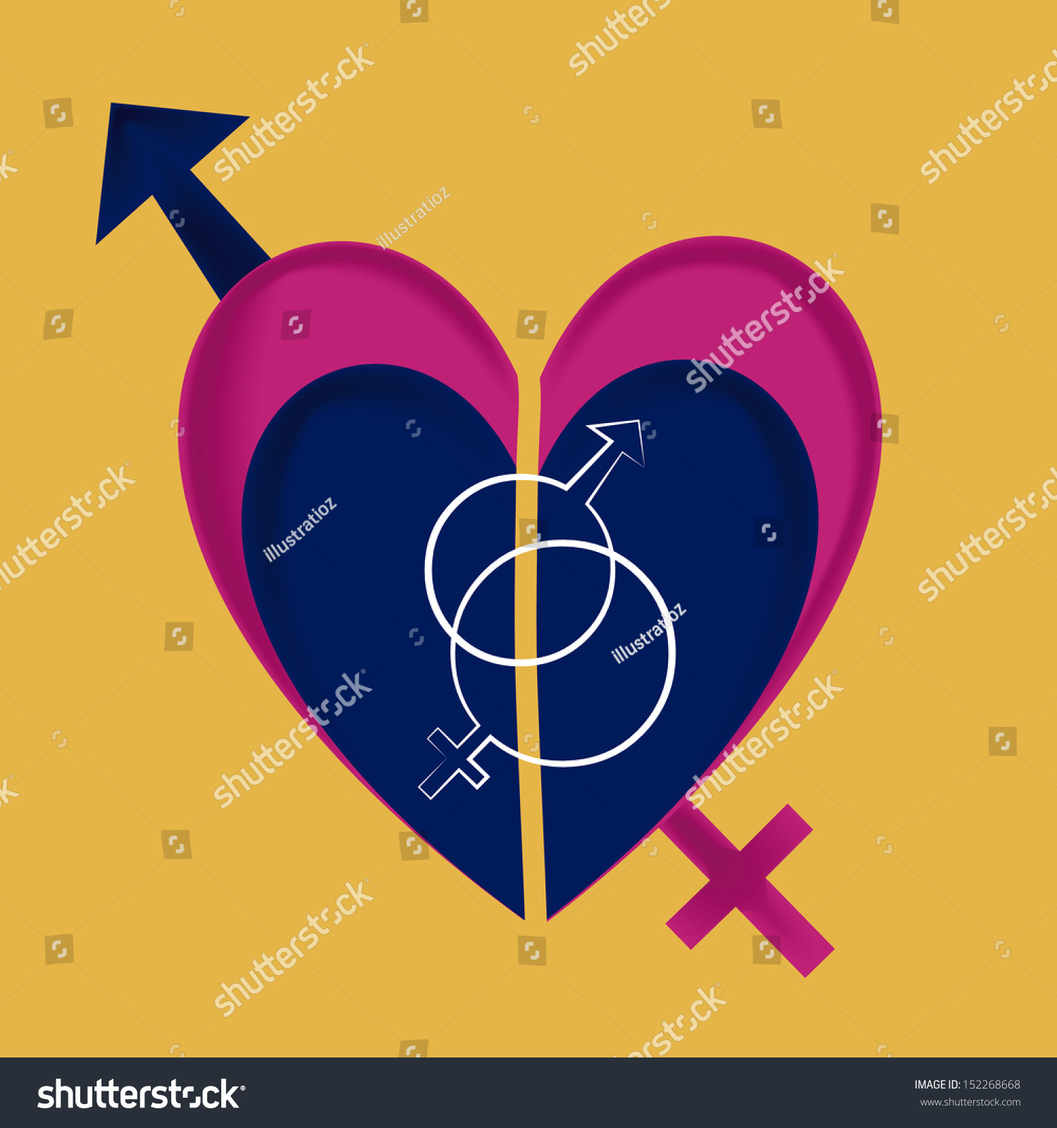 Two gender symbols together within heart stock vector 152268668 two gender symbols together within a heart in a yellow background biocorpaavc Images