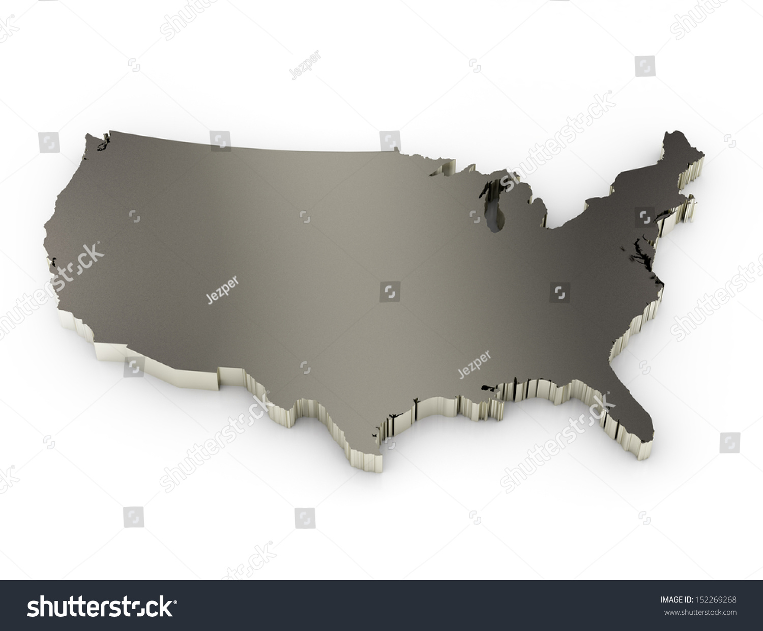 United States America D Metal Map Stock Illustration - 3d us map