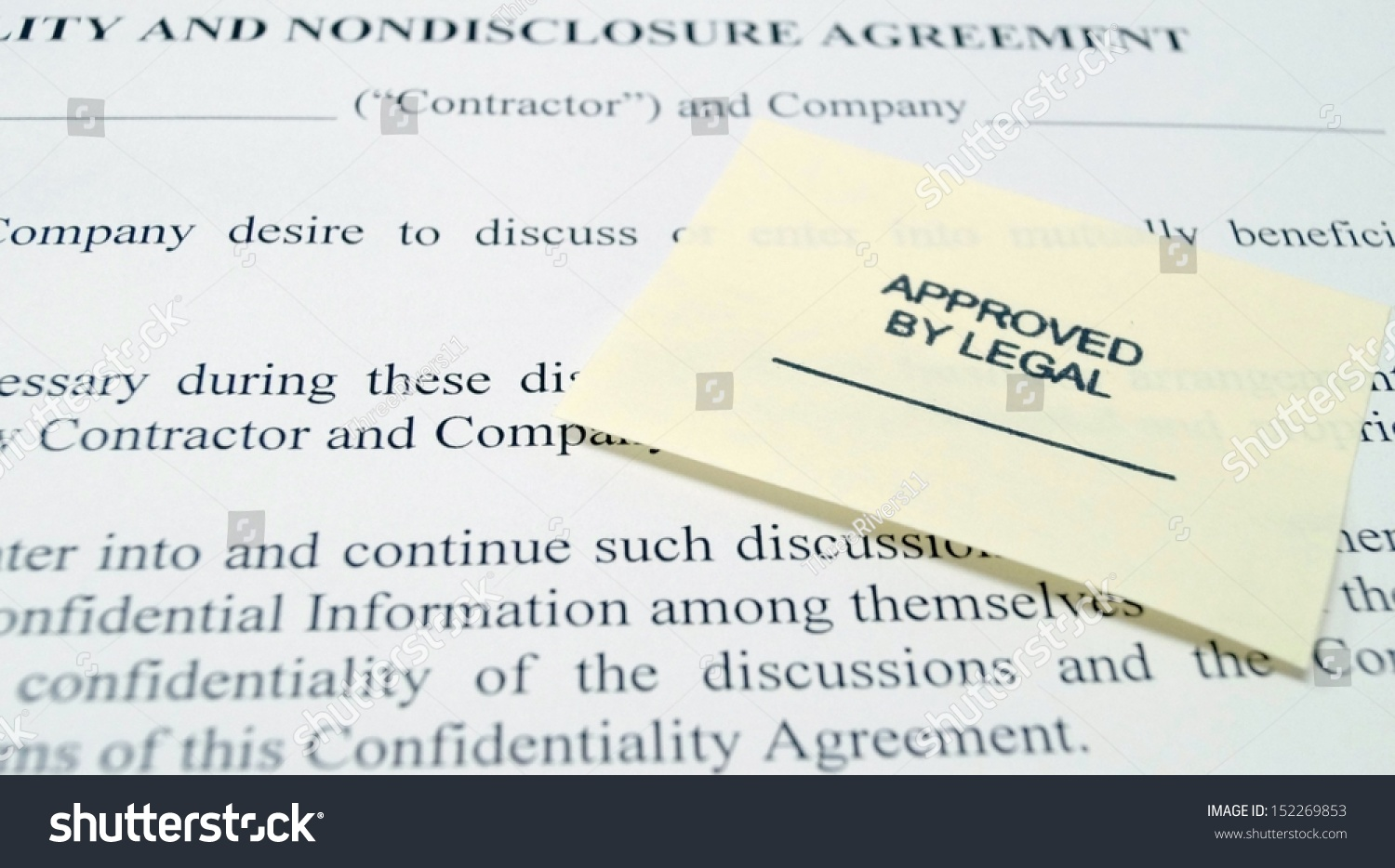 Corporate Legal Confidentiality Nondisclosure Agreement Stock Photo