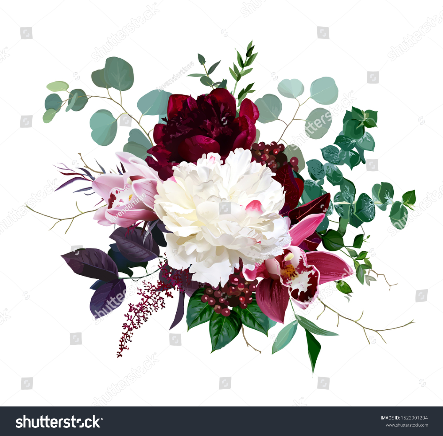 Luxury Fall Flowers Vector Bouquet Pink Stock Vector Royalty Free 1522901204