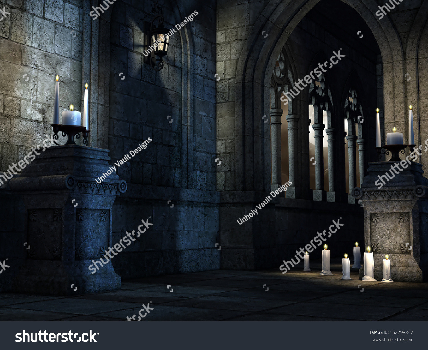 Fantasy Gothic Church With Candles And Lamps
