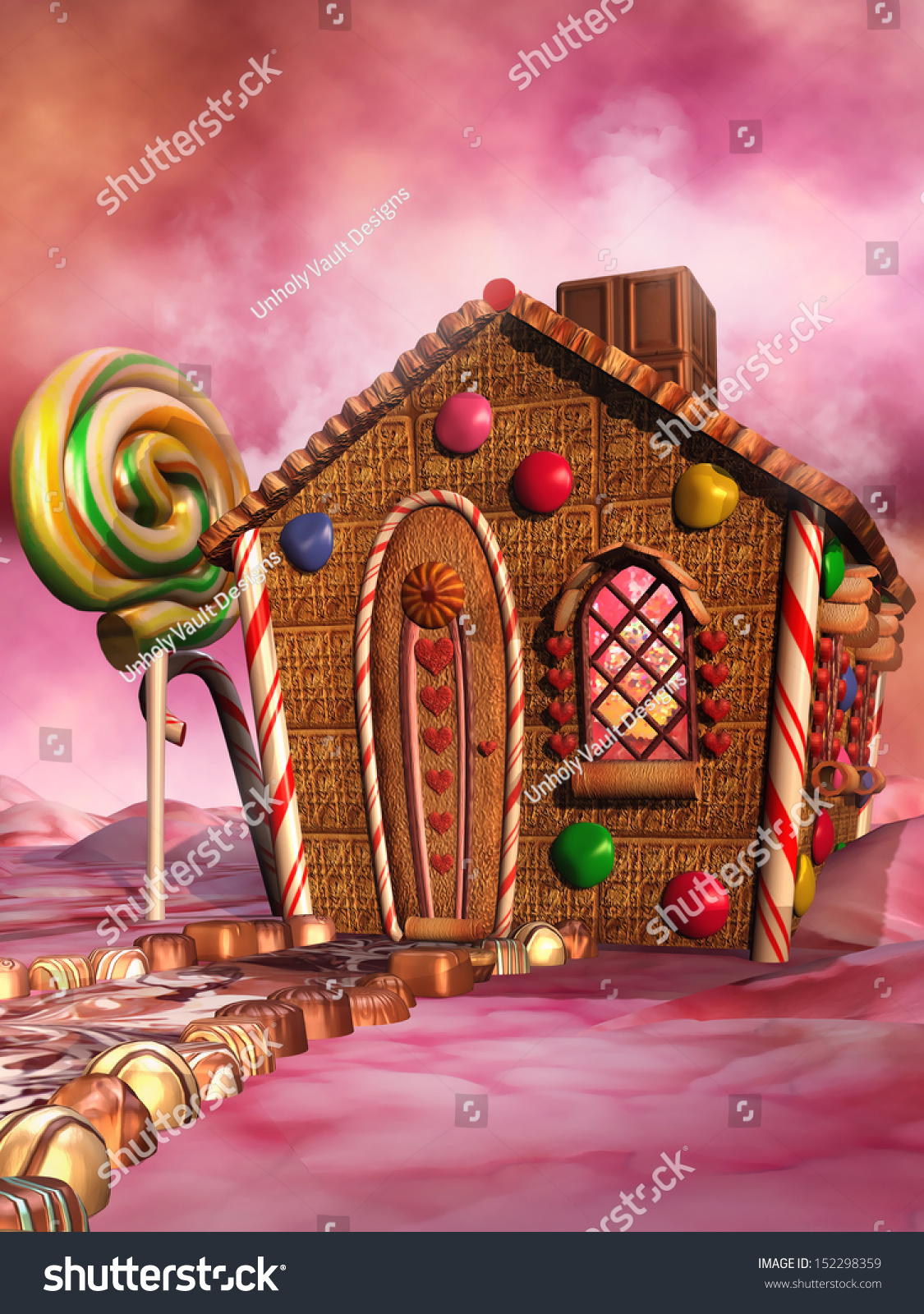 Pink Scenery Fantasy Candy House Stock Illustration
