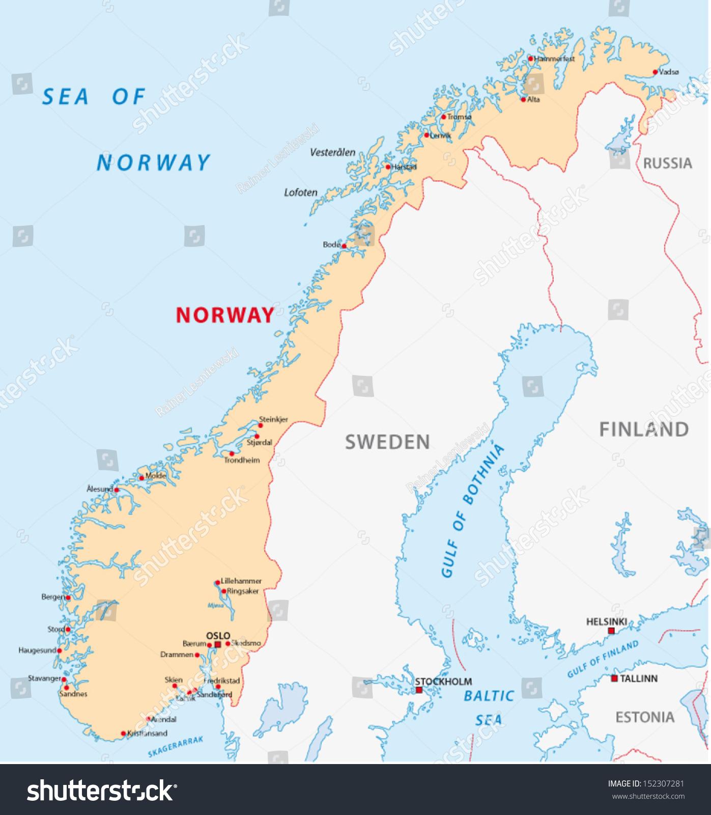 Norway Map Stock Vector 2018 152307281 Shutterstock