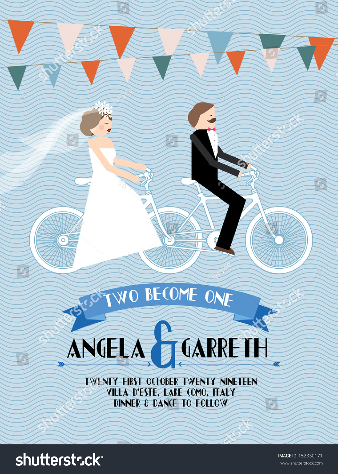 Wedding Invitation Card Bicycle Template Vectorillustration Stock ...