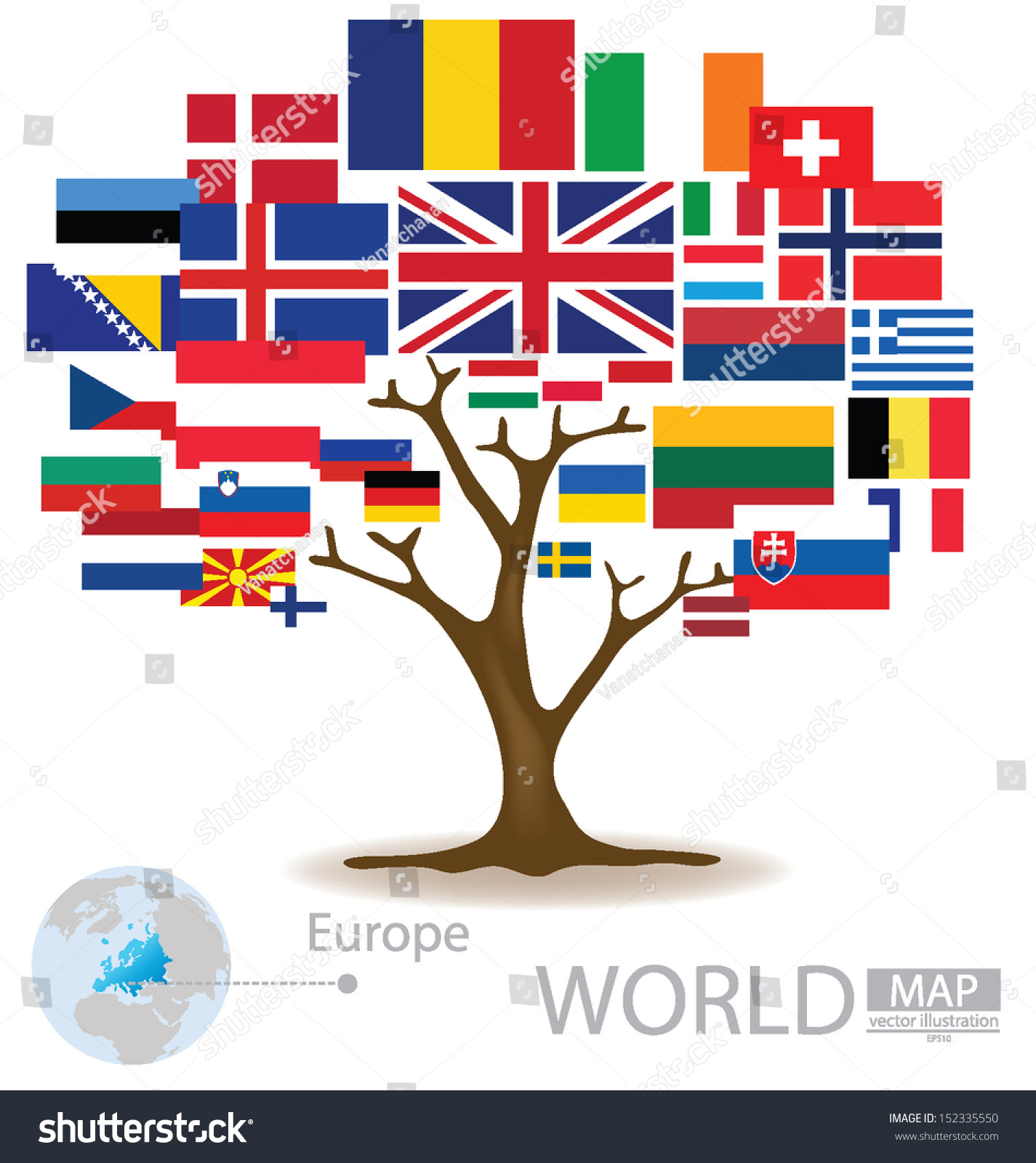 Tree Design Countries Europe Flag World Stock Vector 152335550 ...
