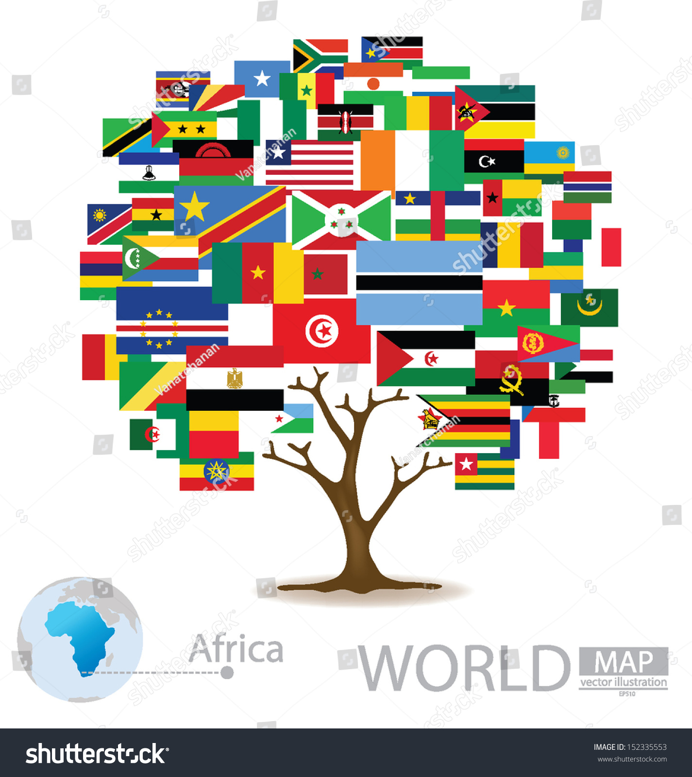 Tree design countries africa flag world stock vector 152335553 countries in africa flag world map vector illustration gumiabroncs Images
