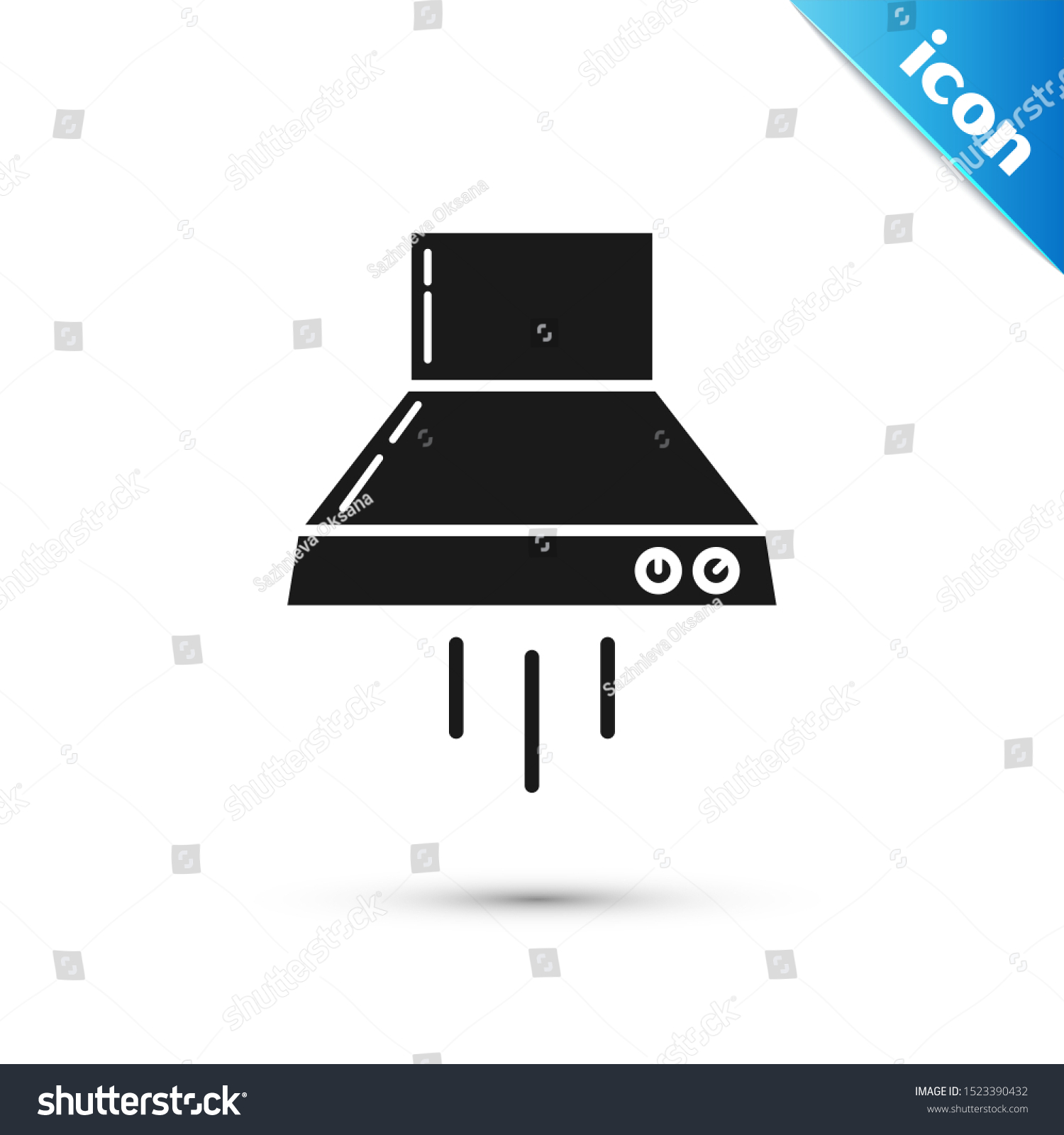 Black Kitchen Extractor Fan Icon Isolated Stock Vector ...