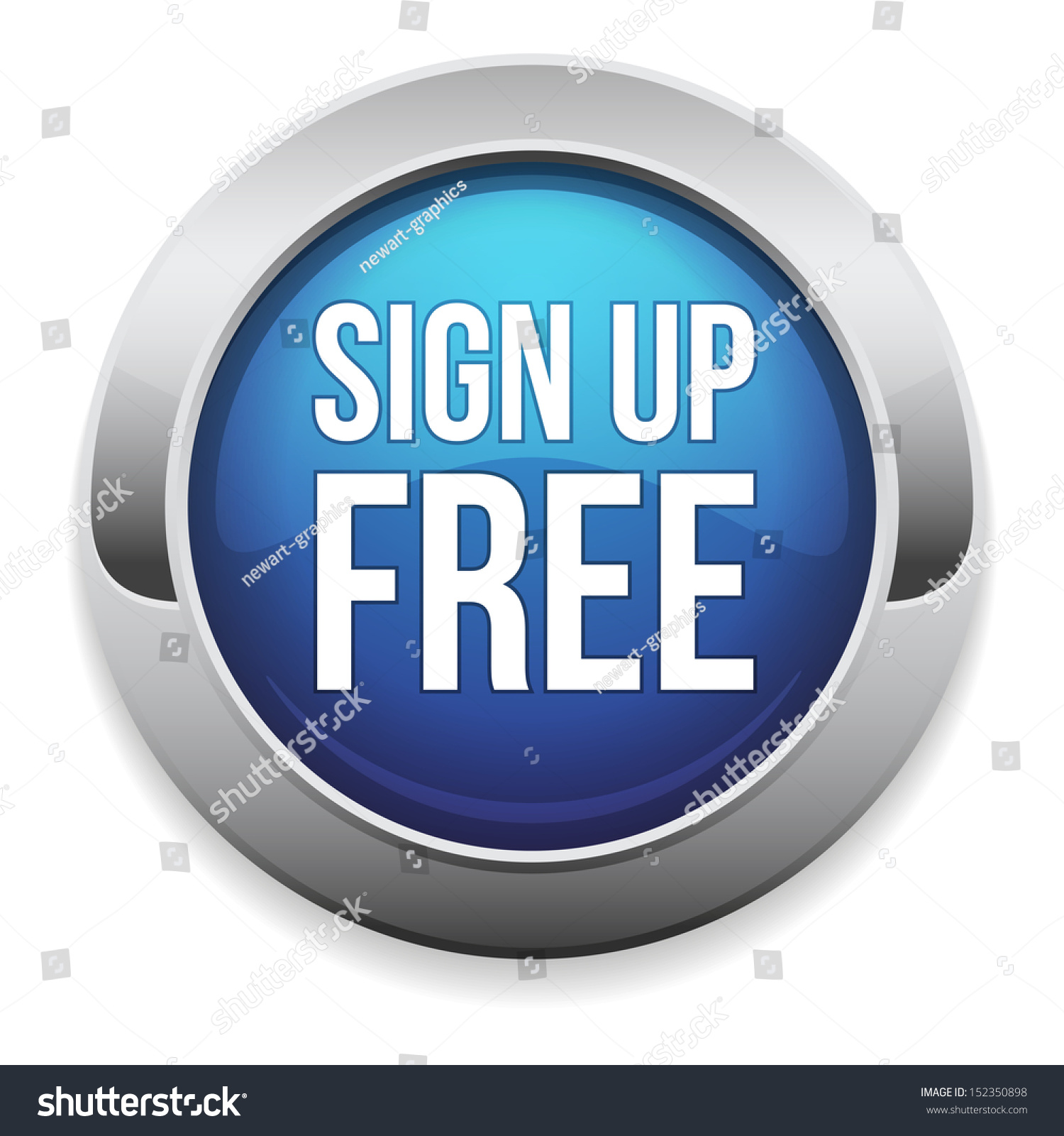 Big Blue Sign Up Free Button Stock Vector 152350898 ...