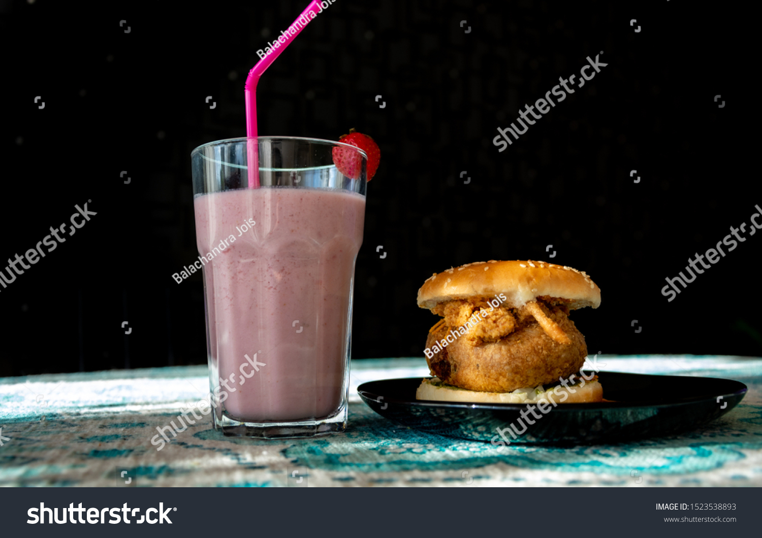Wada pao and strawberry milkshake , traditional maharastrian pao #1523538893
