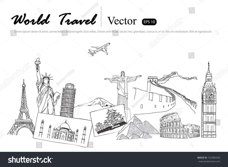 Drawing Travel Around The World JapanFranceItaly New YorkIndia