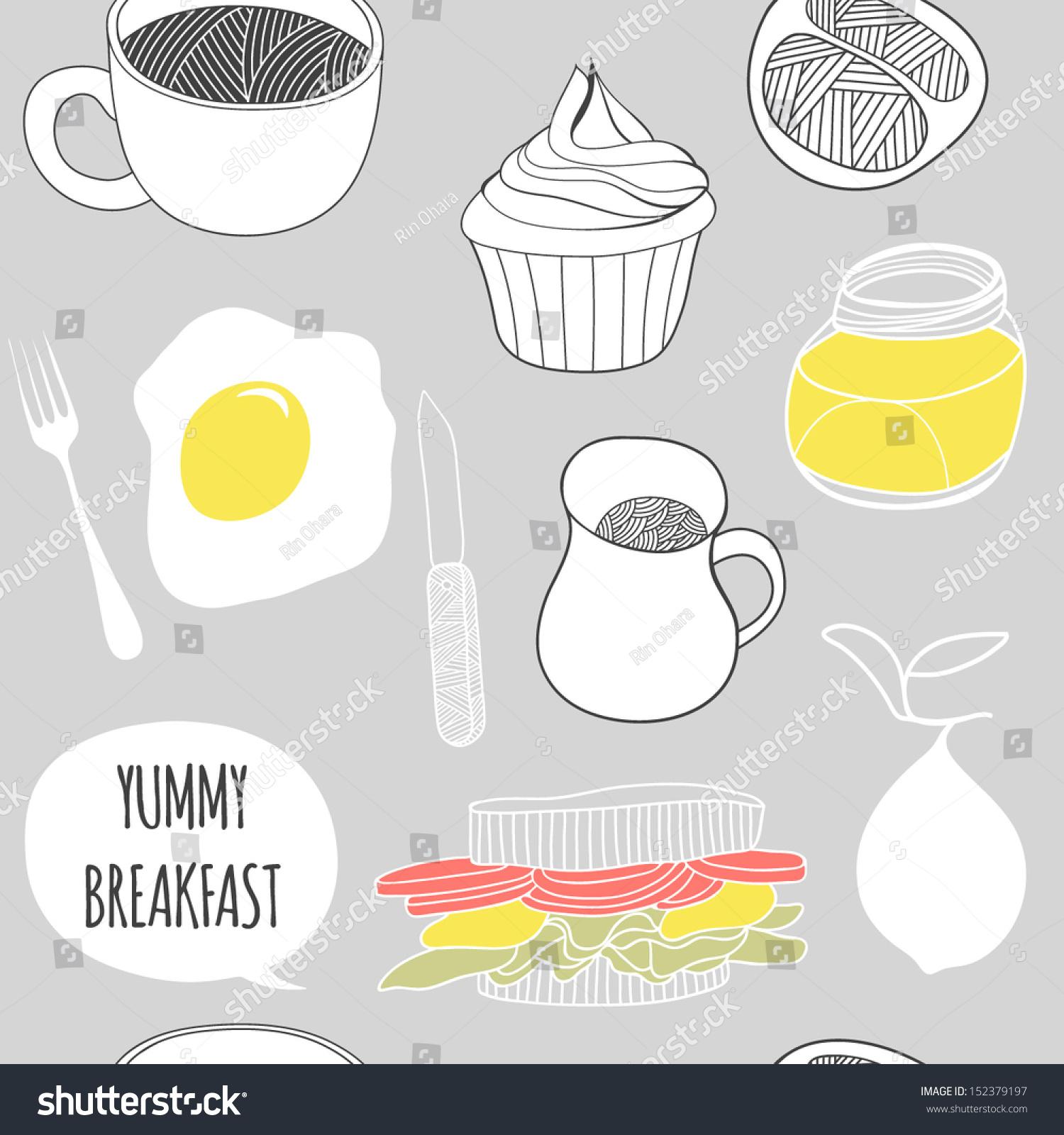Yummy Breakfast Seamless Pattern Cartoon Vector Stock Photo (Photo ...