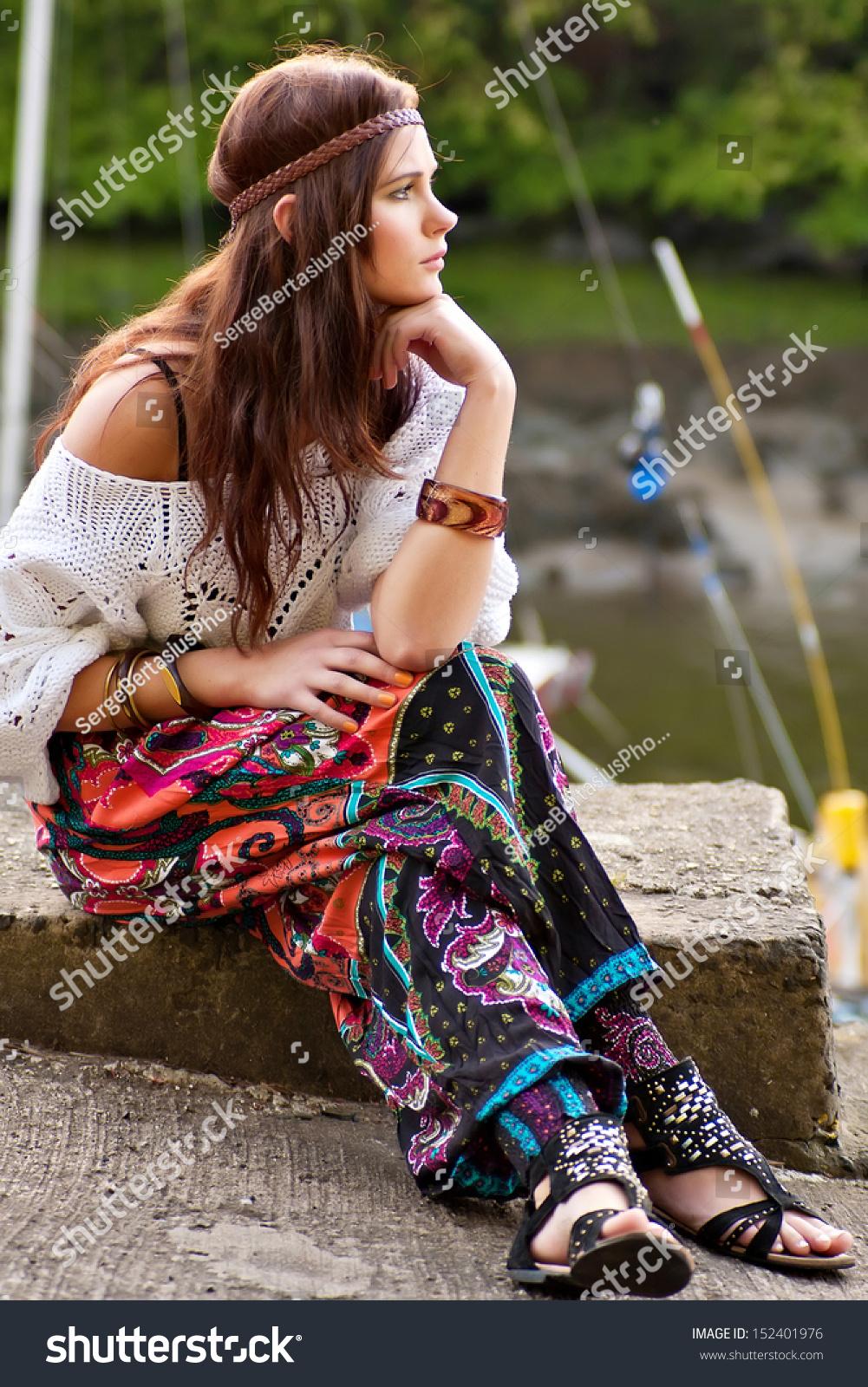 Pretty Young Hippie Caucasian Girl Motley Stock Photo
