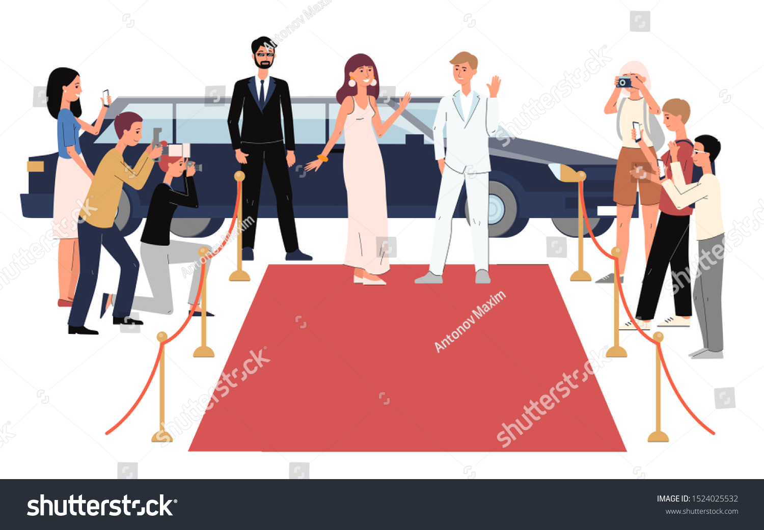 Cartoon Celebrity People Arriving Red Carpet Stock Vector Royalty Free 1524025532
